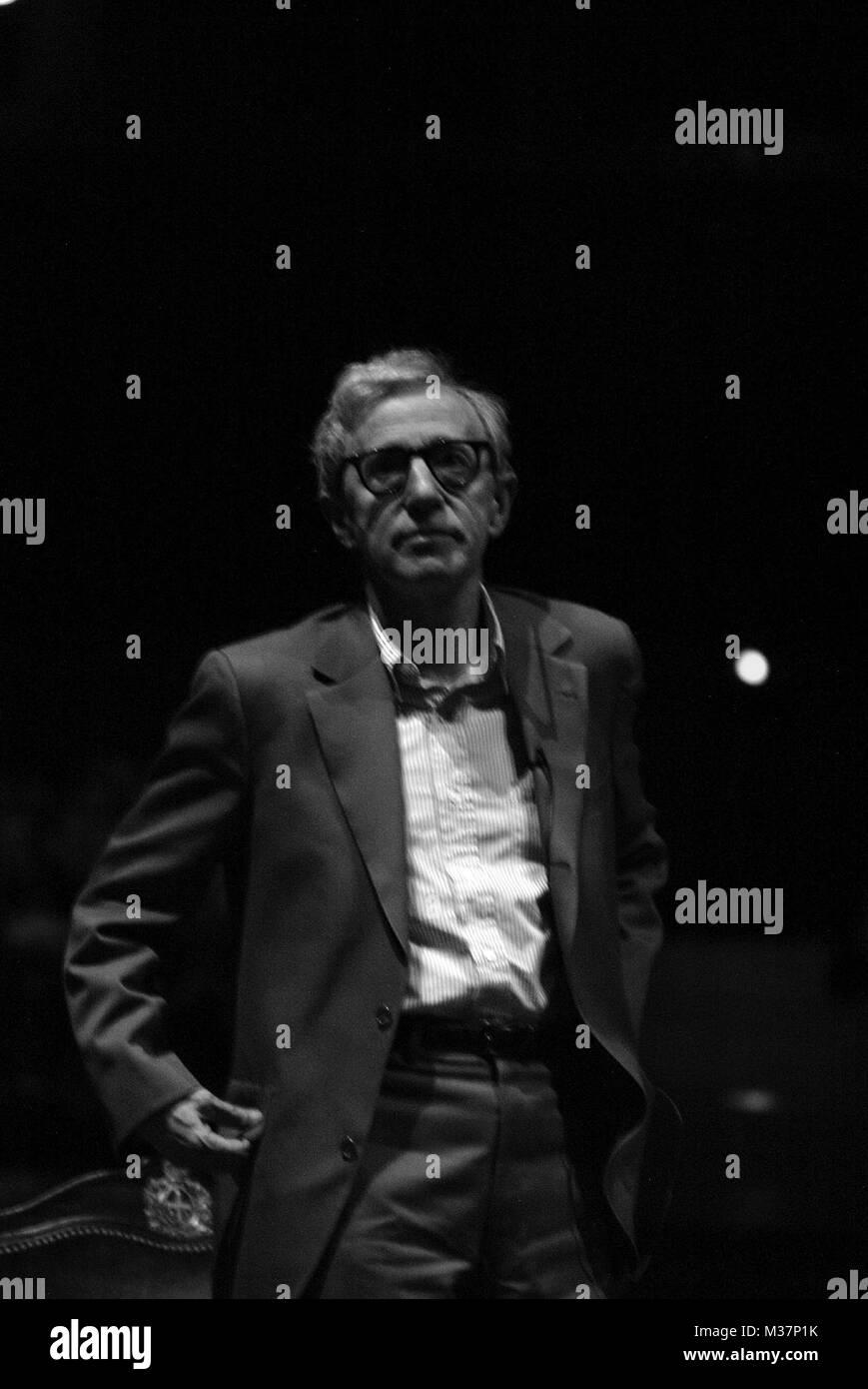Woody Allen makes a rare  visit to Oviedo, Spain to help support the Fundacion Principe de Asturias, (Foundation - Stock Image