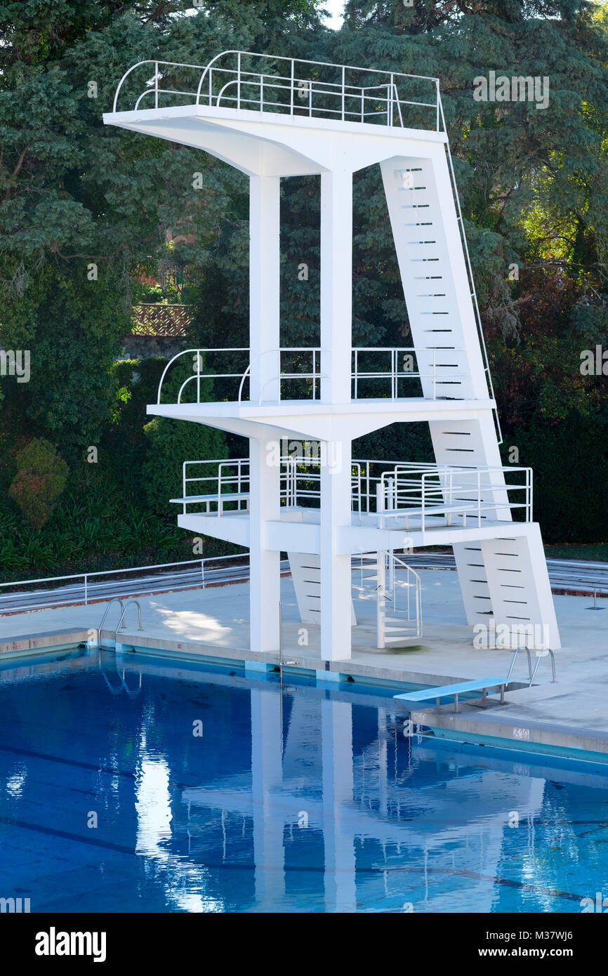 Concrete Diving Boards At A Public Outdoor Swimming Pool Stock Photo Alamy