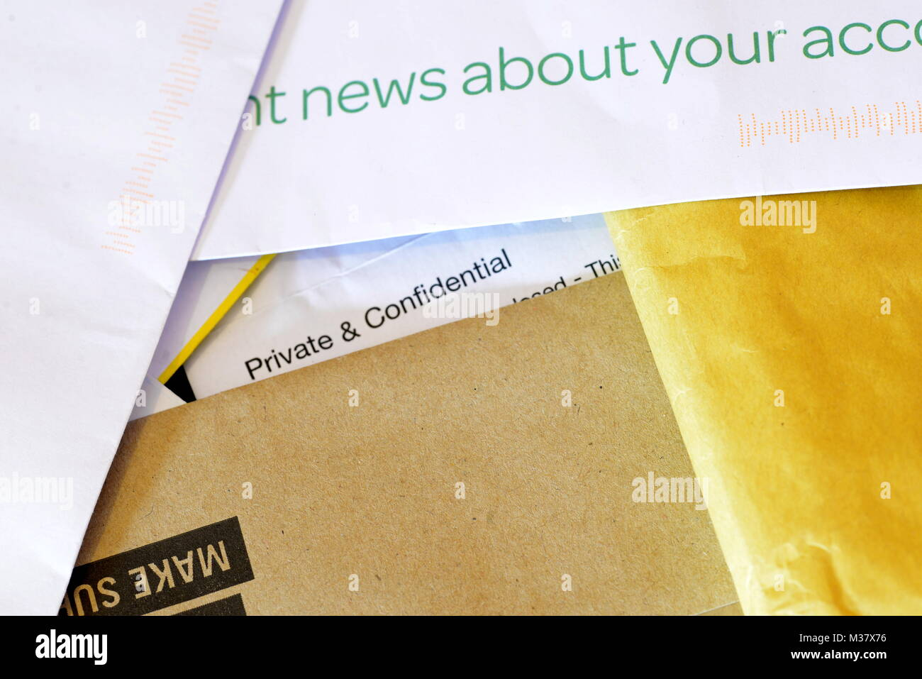 opened envelopes and junk mail - Stock Image