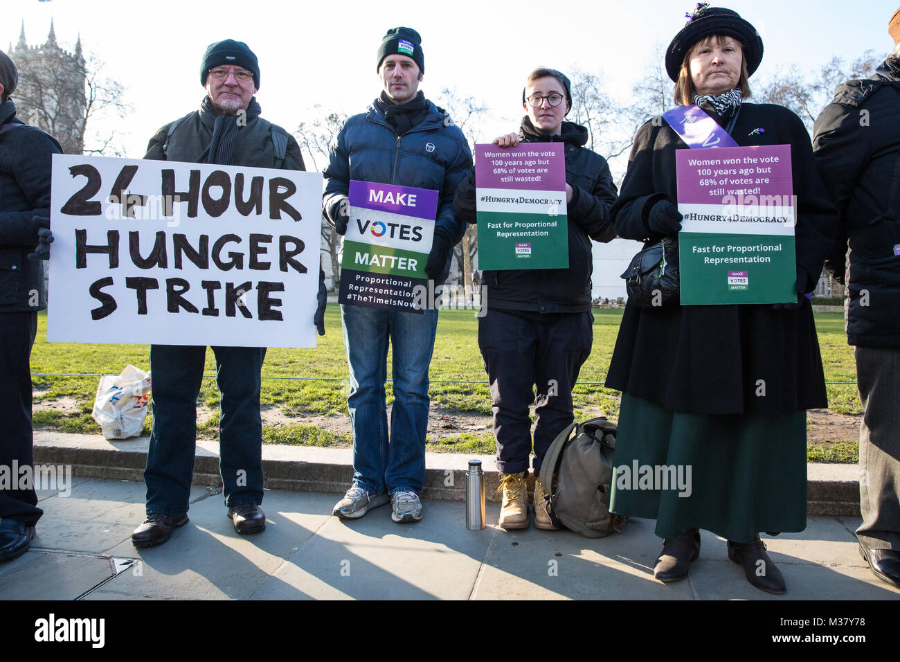 London, UK. 6th February, 2018. Fair vote campaigners take part in a 24-hour hunger strike organised by Make Votes - Stock Image