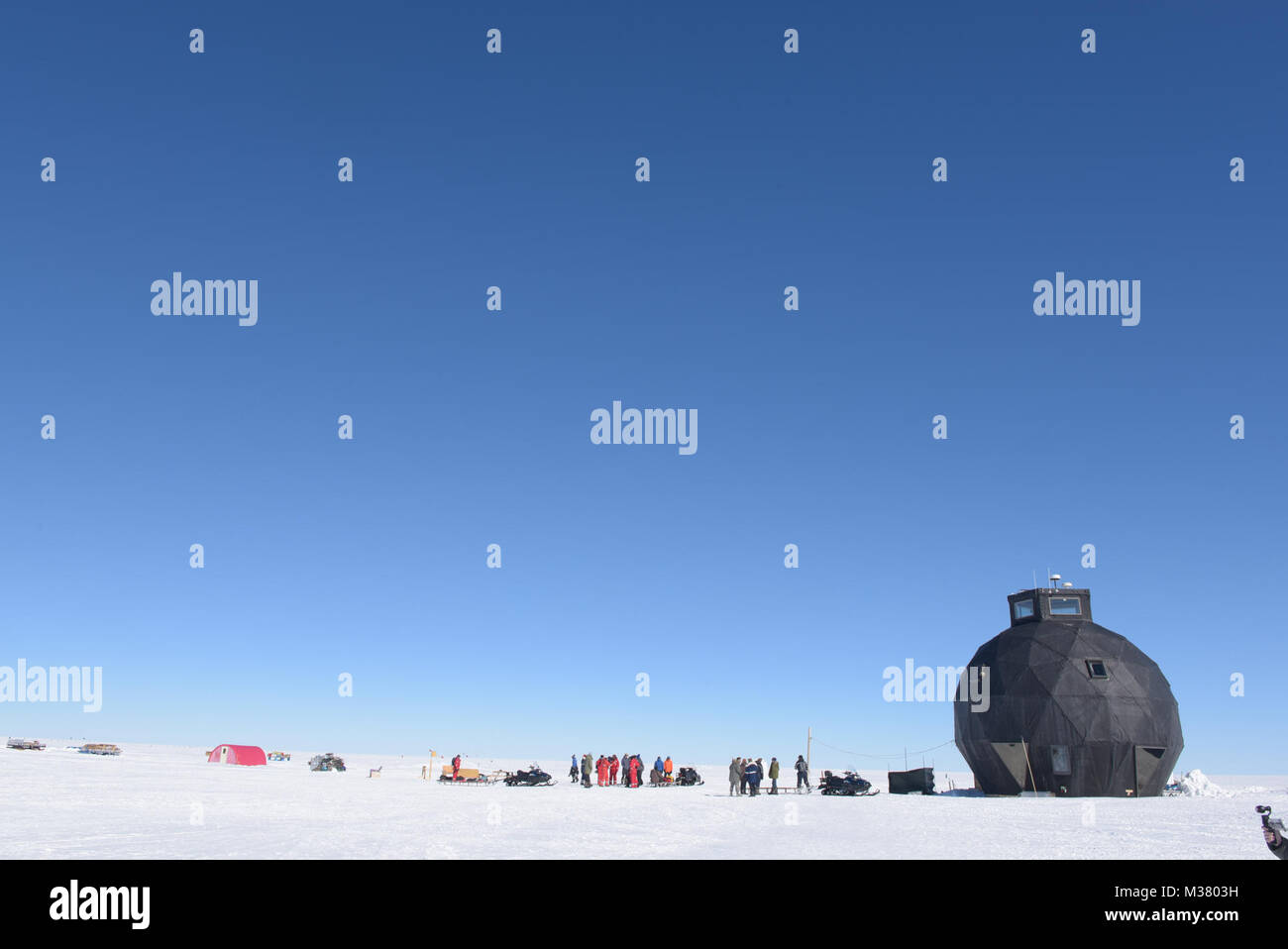 The East Greenland Ice Core Project (GRIP) site, a small research camp, is located in a remote, barren area of the - Stock Image