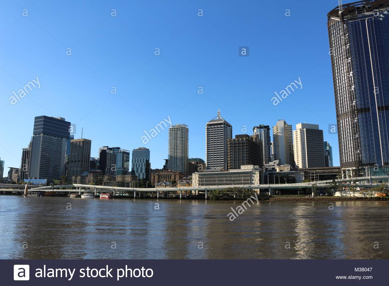Cityscape with skyscrapers at the river in Brisbane, Australia - Stock Image