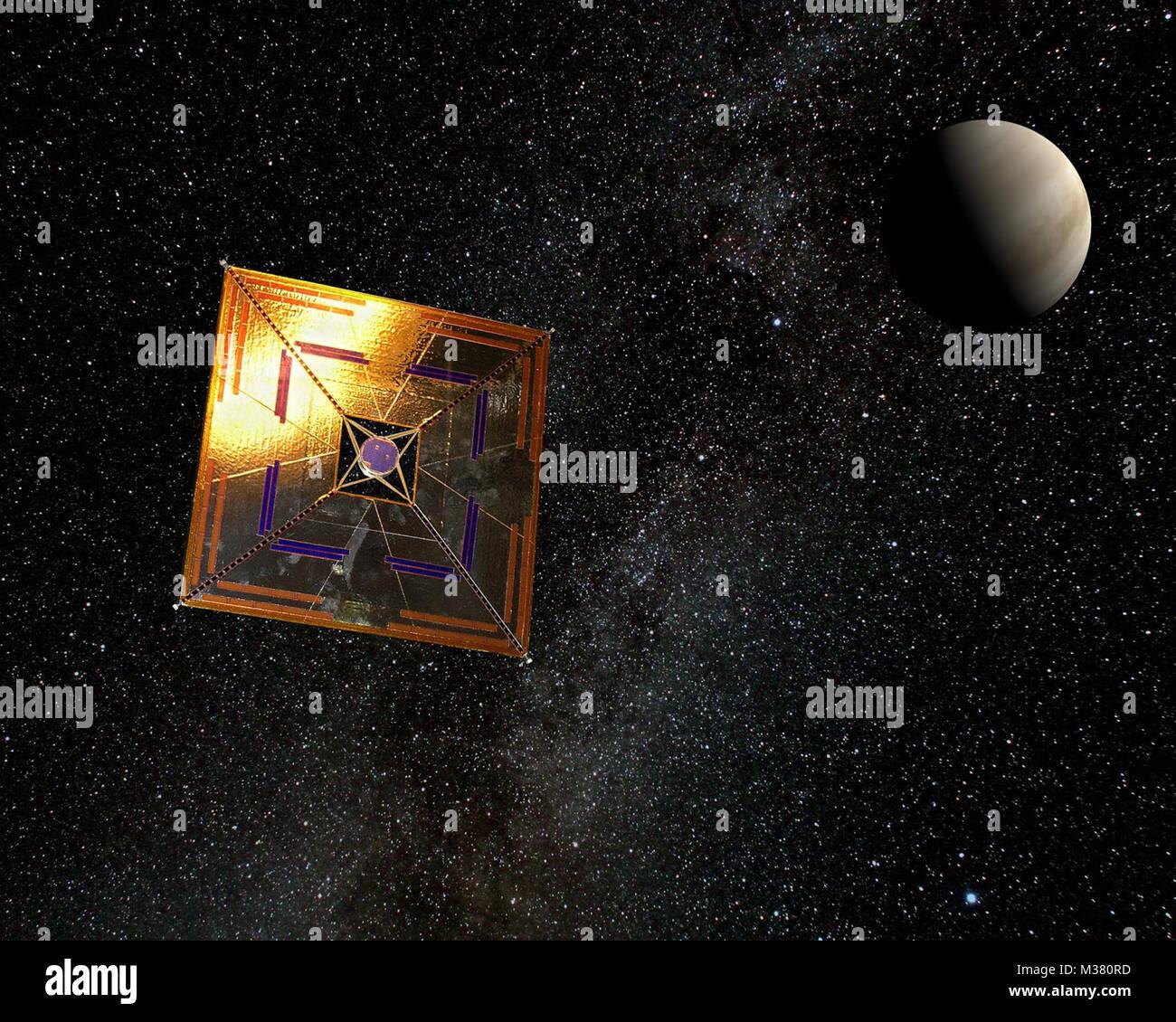 Artist's rendering of the IKAROS spaceprobe in flight. IKAROS (Interplanetary Kite-craft Accelerated by Radiation - Stock Image