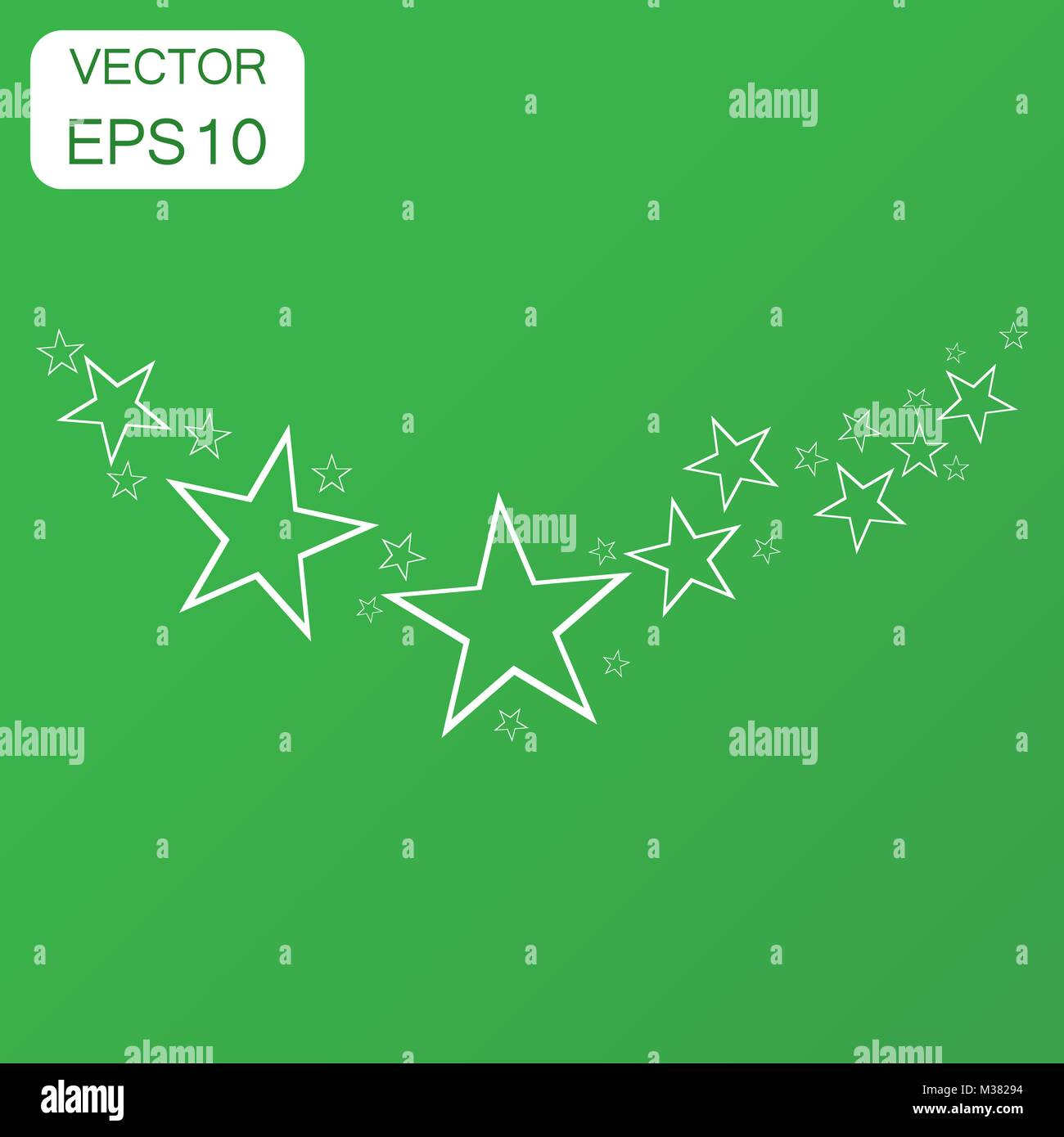 Abstract falling star icon. Business concept stars pictogram. Vector illustration on green background with long Stock Vector