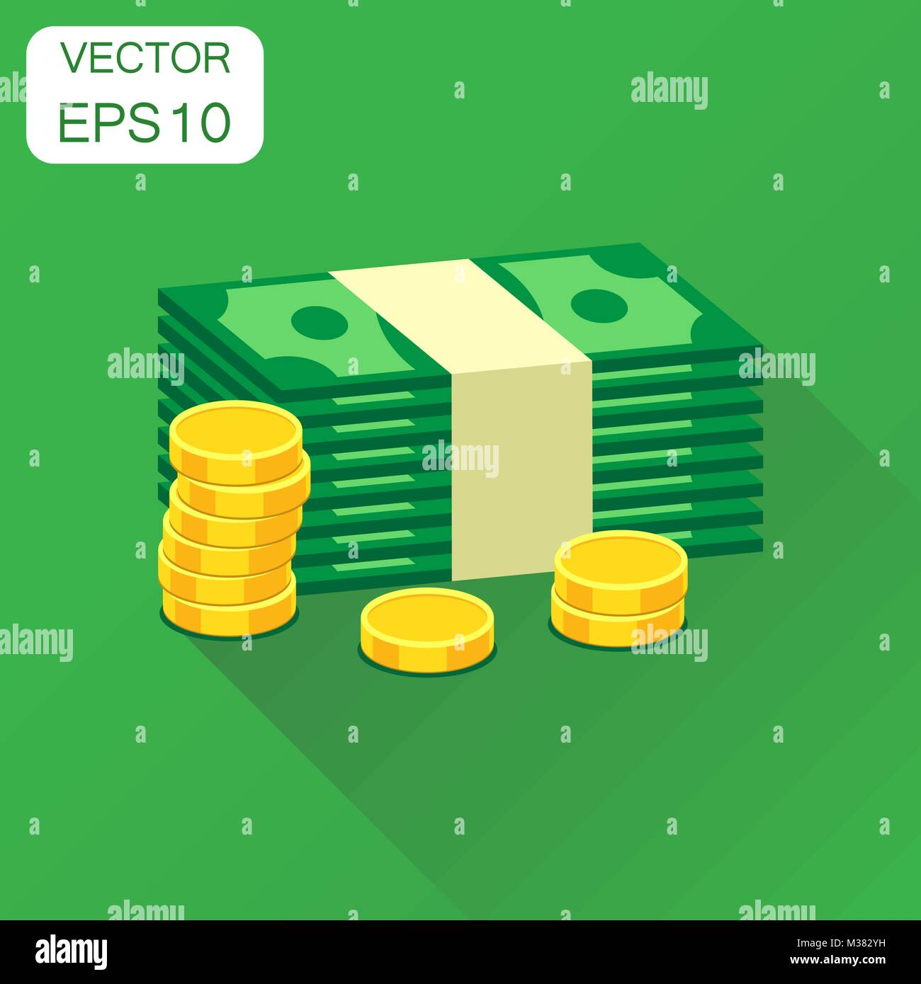 Stacks of gold coins and stacks of dollar cash icon. Business concept money pictogram. Vector illustration on green - Stock Vector
