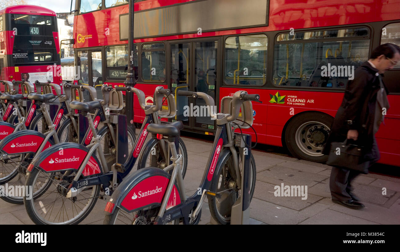 'Boris Bikes,' with Santander branding, are locked in their racks outside the victoria and Albert Museum, in London, Stock Photo