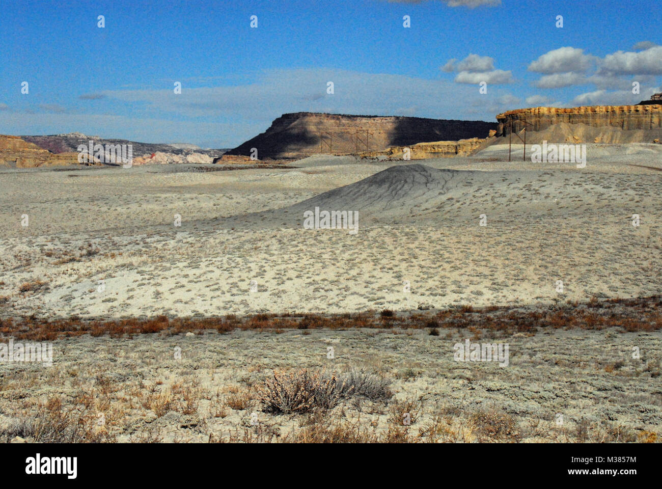 A panoramic landscape of various beautiful mountains and mesas in the Arizona desert Stock Photo
