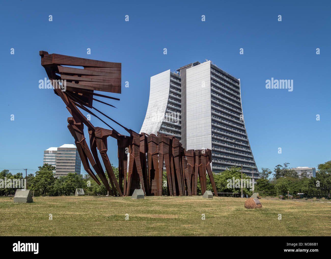 Azoreans (Acorianos) Monument and  Rio Grande do Sul Adminitrative Building  or Centro Administrativo Fernando Ferrari - Stock Image