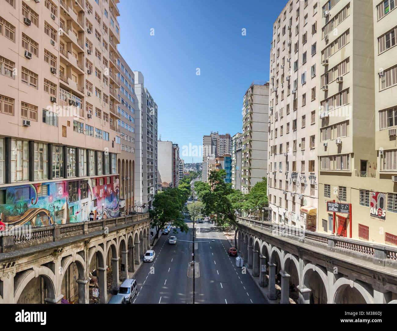 Otavio Rocha Viaduct Over Borges De Medeiros Avenue In Downtown Porto Alegre City