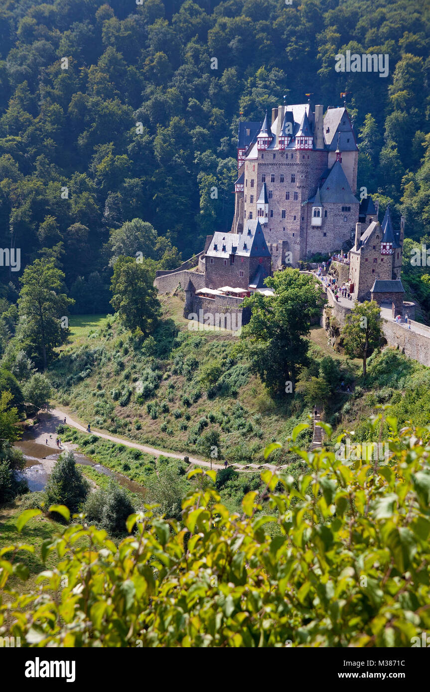 Eltz castle, beautiful medieval castle at Wierschem, Muenstermaifeld, South Eifel, Eifel, Rhineland-Palatinate, - Stock Image