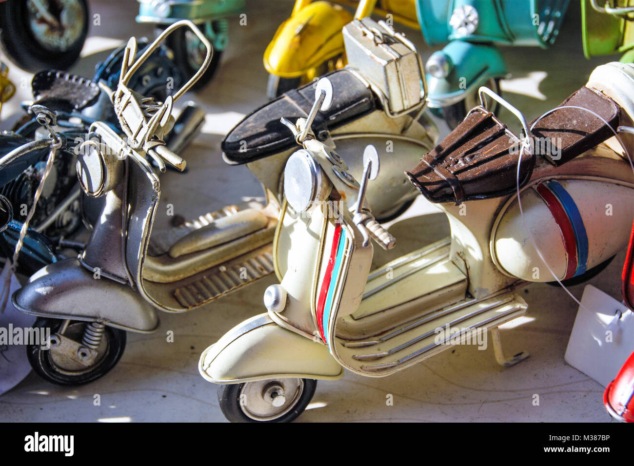 miniatures of iconic  italian scooter also known as vespa Stock Photo