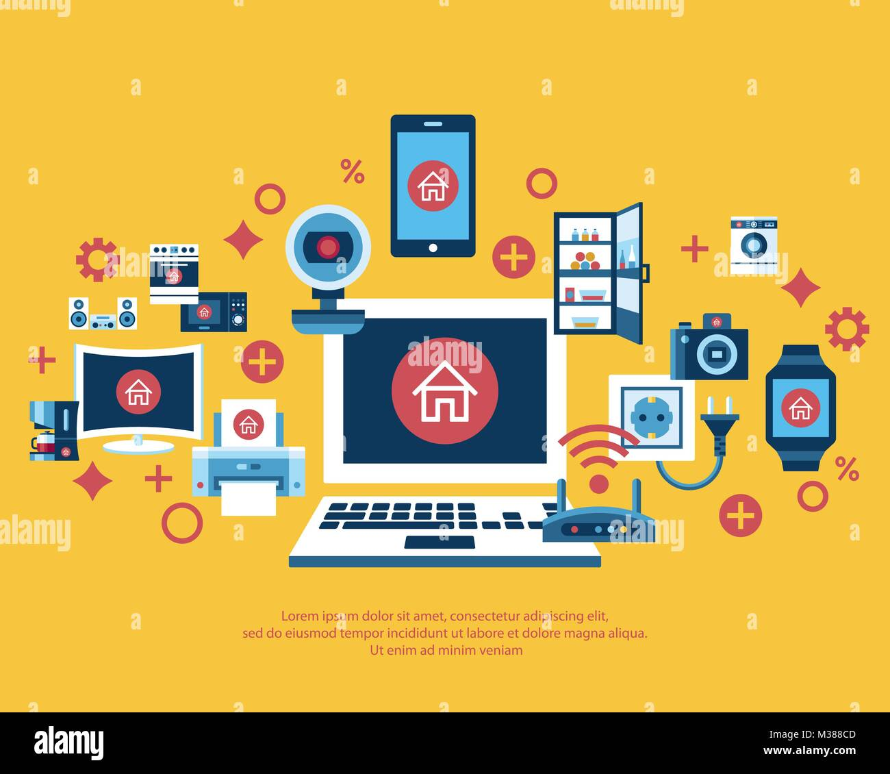 Digital Vector Yellow Internet Of Things Concept Objects Color Simple Flat Icon Set Collection Isolated