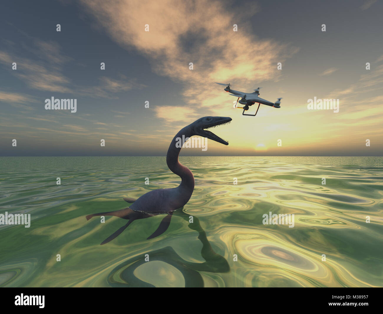 Sea monster and drone - Stock Image