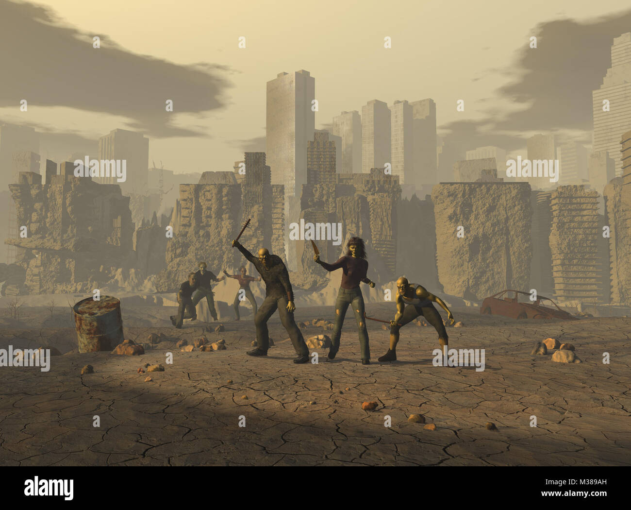 Mutants in a post apocalyptic landscape - Stock Image