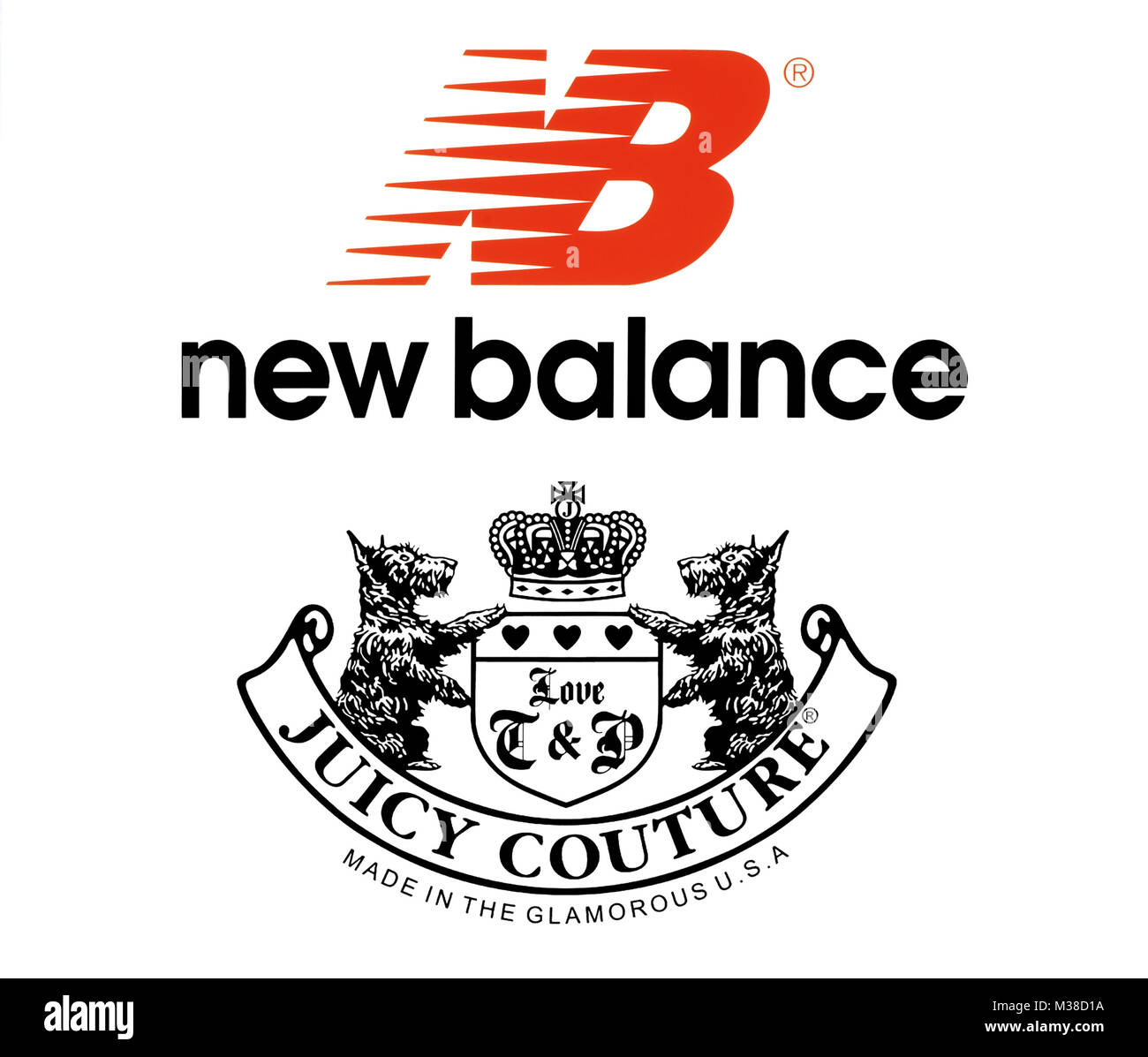 Kiev, Ukraine - October 27, 2017: Collection of popular sportswear manufactures logos printed on paper: New Balance - Stock Image