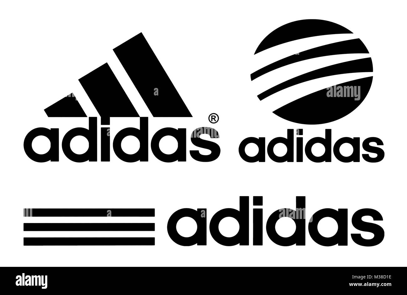 Kiev, Ukraine - October 27, 2017: Collection of Adidas logos printed on white paper. Adidas is a German multinational Stock Photo