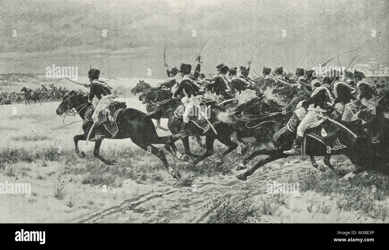 British cavalry charge of the 10th and 18th Hussars, Battle of Benavente, 29 December 1808 - Stock Image