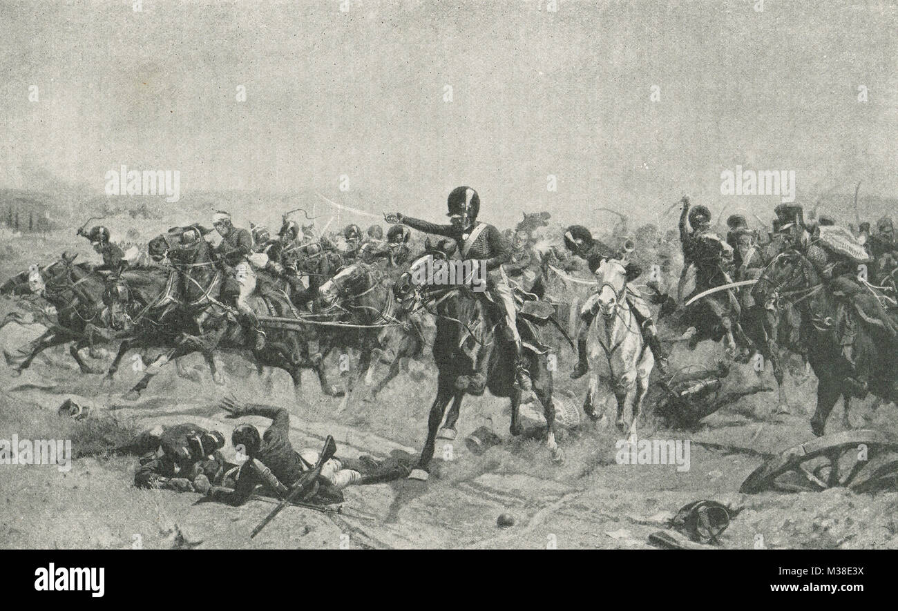 Captain Norman Ramsay, leading Royal Horse Artillery charge, Battle of Fuentes de Onoro, 5 May 1811 - Stock Image