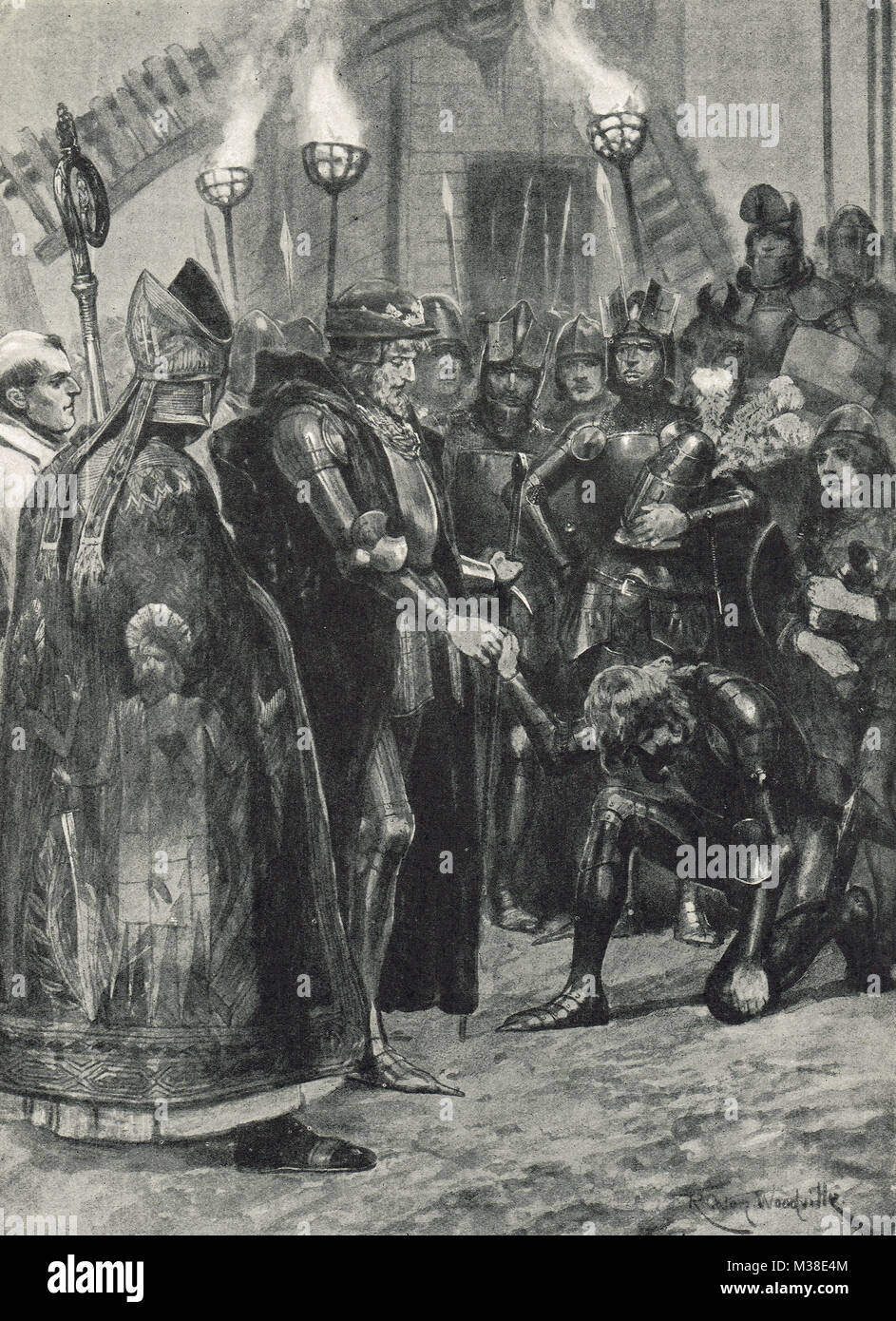 Edward III greeting the Prince of Wales after the Battle of Crecy, 26 August 1346 - Stock Image