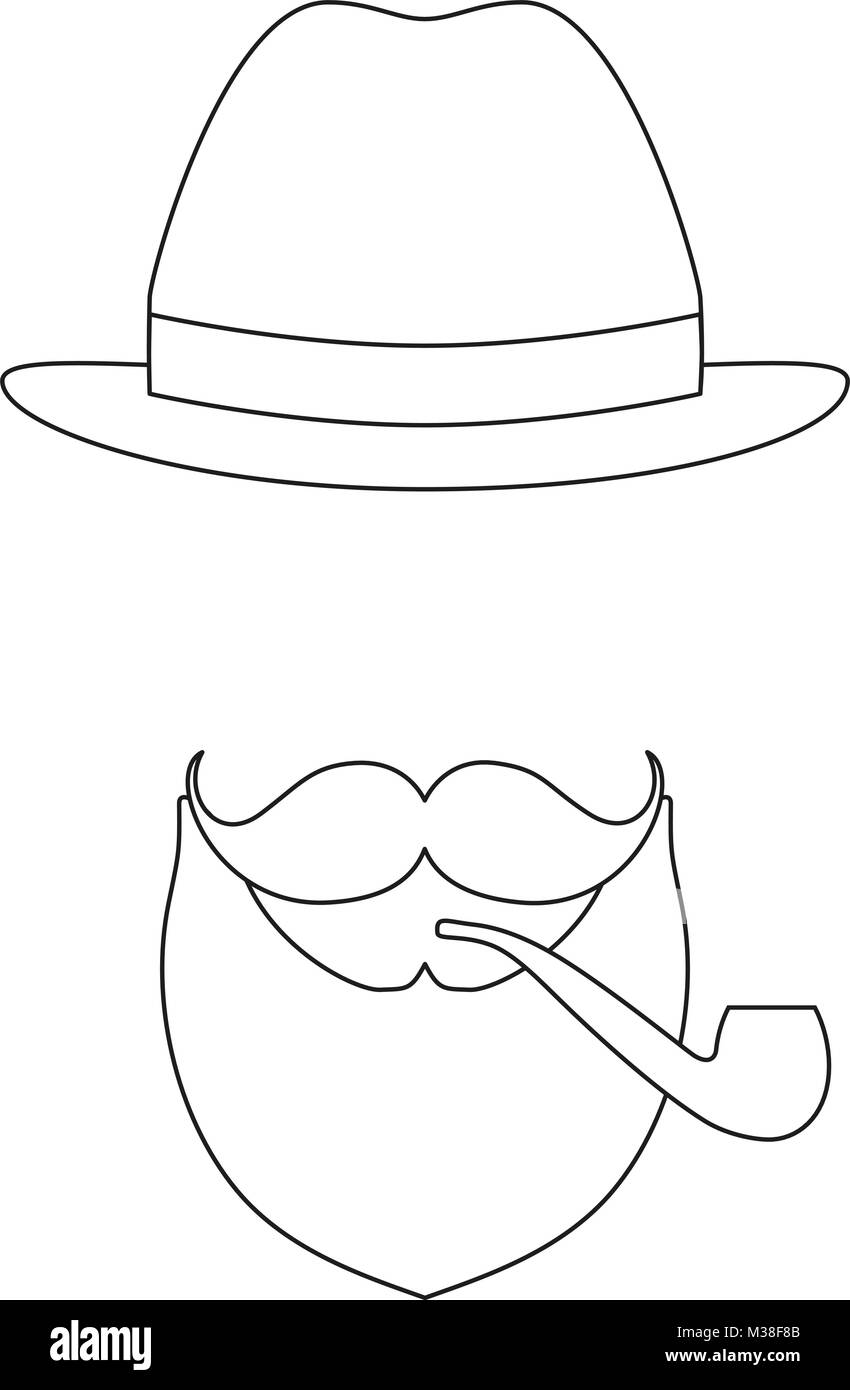 269890cc Icon line art poster man father dad day avatar elements set hat mustache  smoking tobacco pipe beard, beaver.
