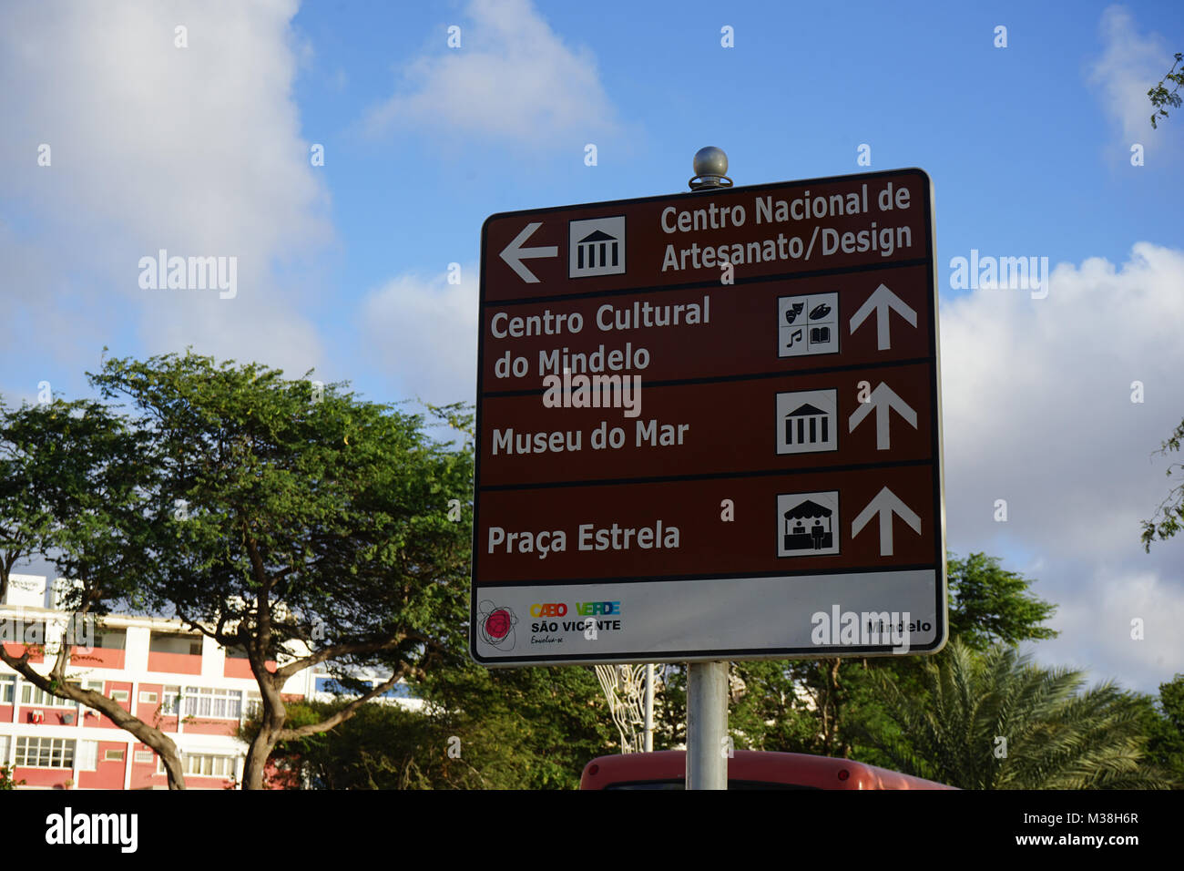 Sign to the Points of Interest in Mindelo, Cape Verde - Stock Image