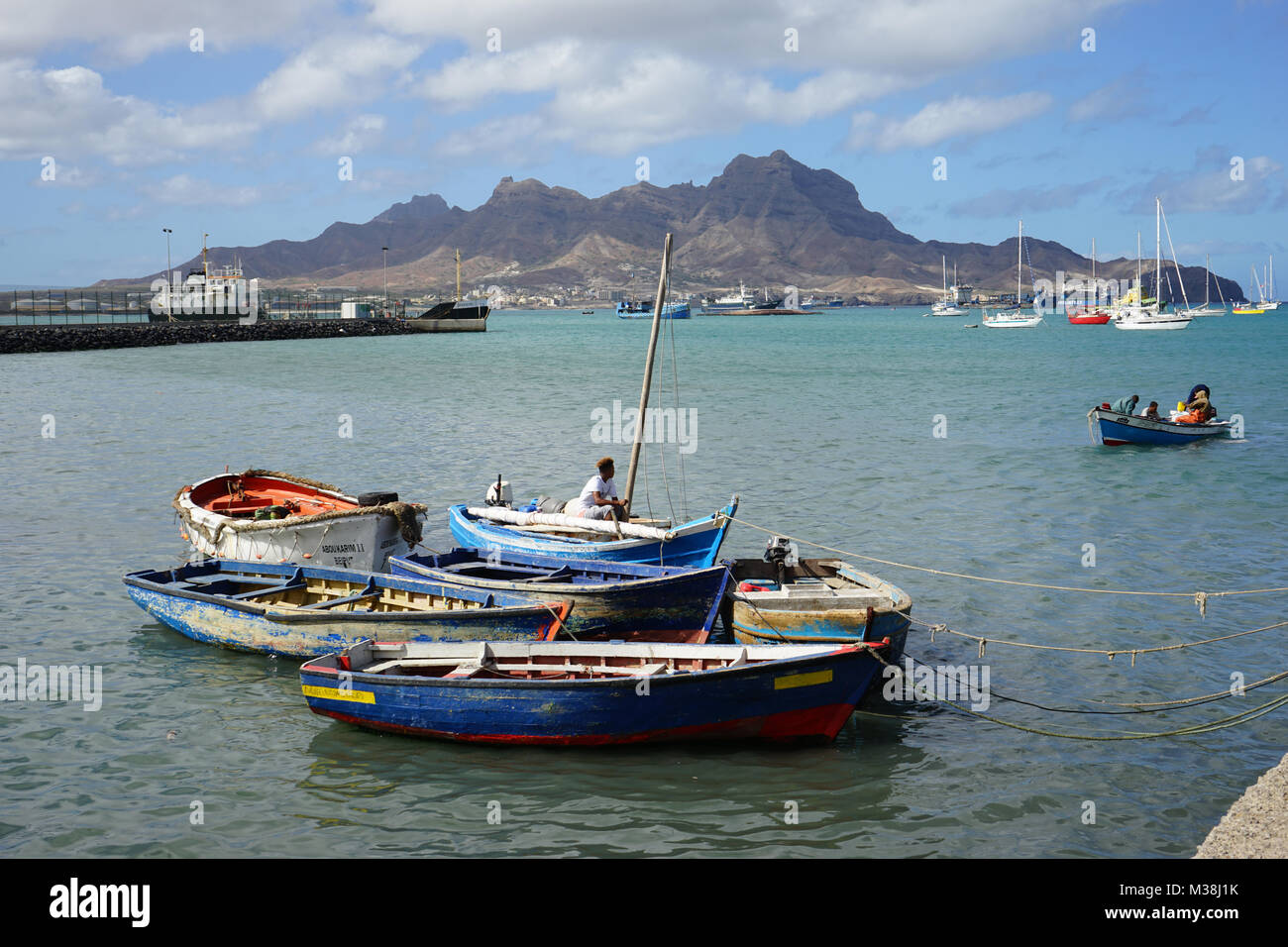 Fishing Boats in Mindelo, Cape Verde Stock Photo