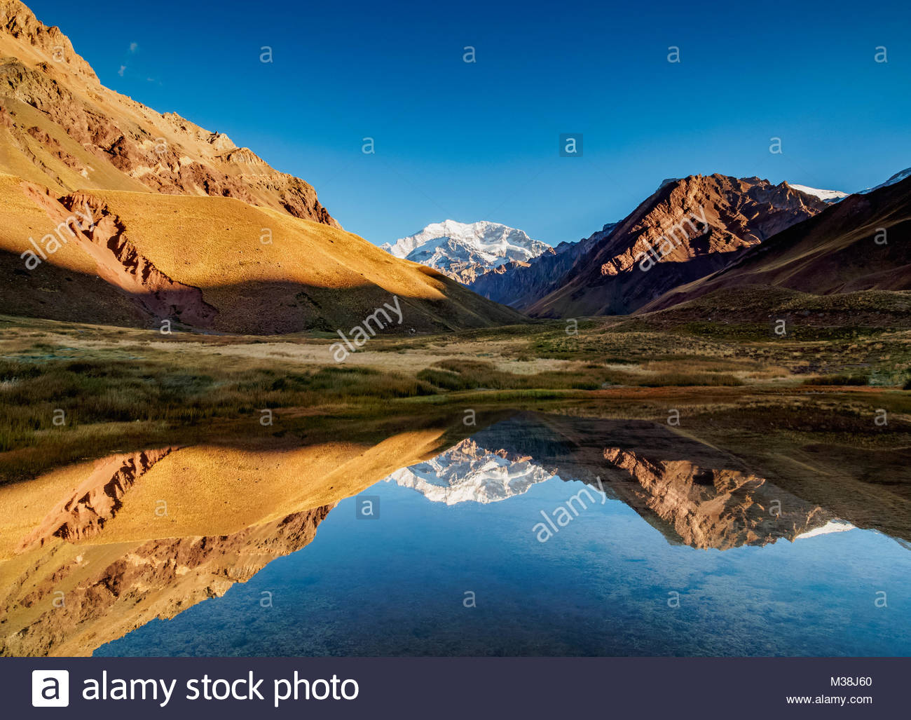 Aconcagua Mountain reflecting in the Espejo Lagoon, Aconcagua Provincial Park, Central Andes, Mendoza Province, - Stock Image