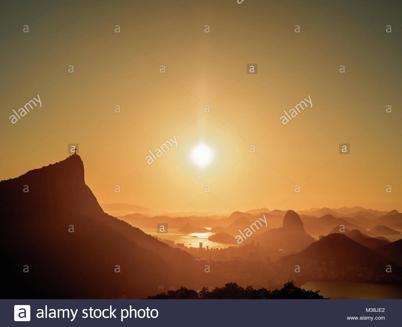 Cityscape from Vista Chinesa at sunrise, Rio de Janeiro, Brazil Stock Photo