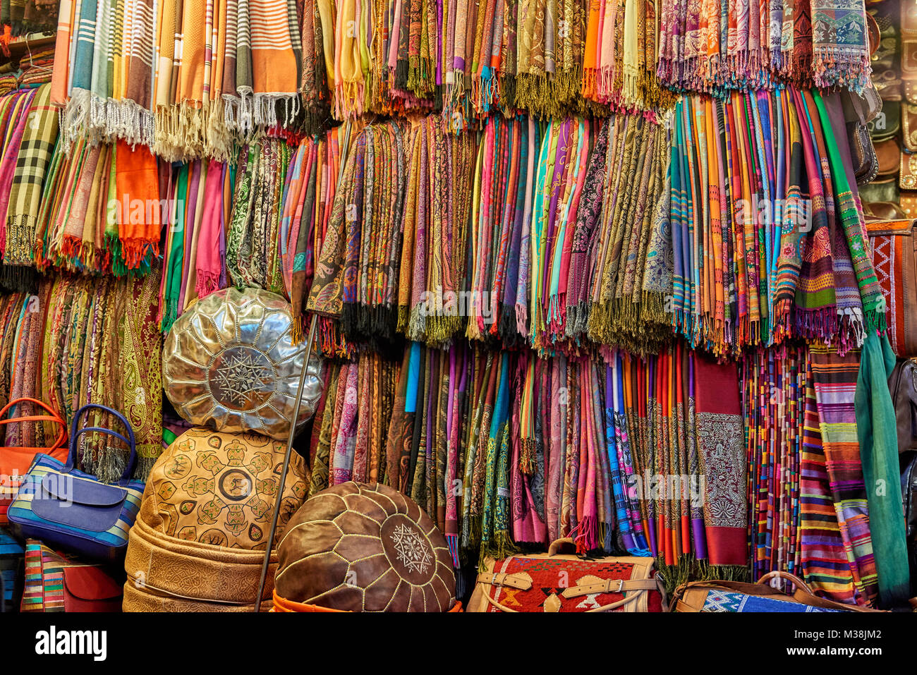 textiles on Berber market in  Marrakesh, Morocco, Africa - Stock Image