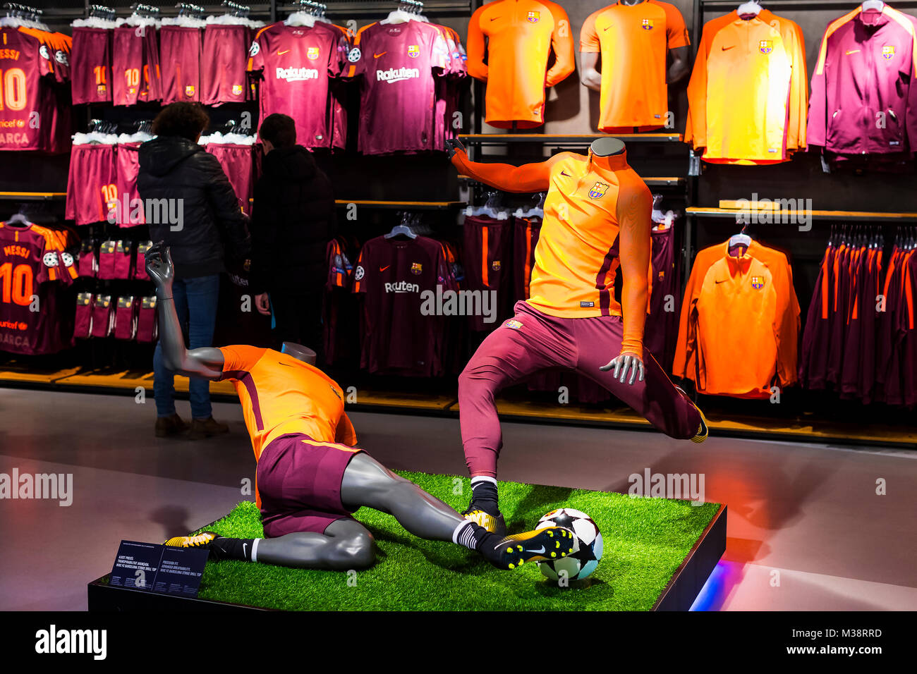 BARCELONA, SPAIN - 12 JANUARY 2018: Official Store FC Barcelona , clothing and footwear team of souvenirs and paraphernalia - Stock Image