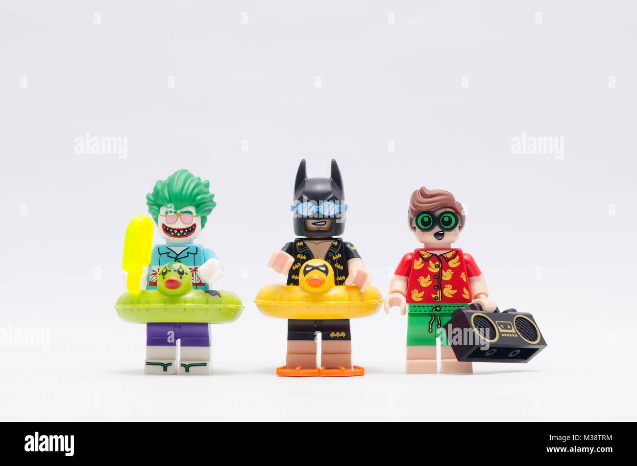 Lego Batman Robin And Joker On Vacation Isolated White Background