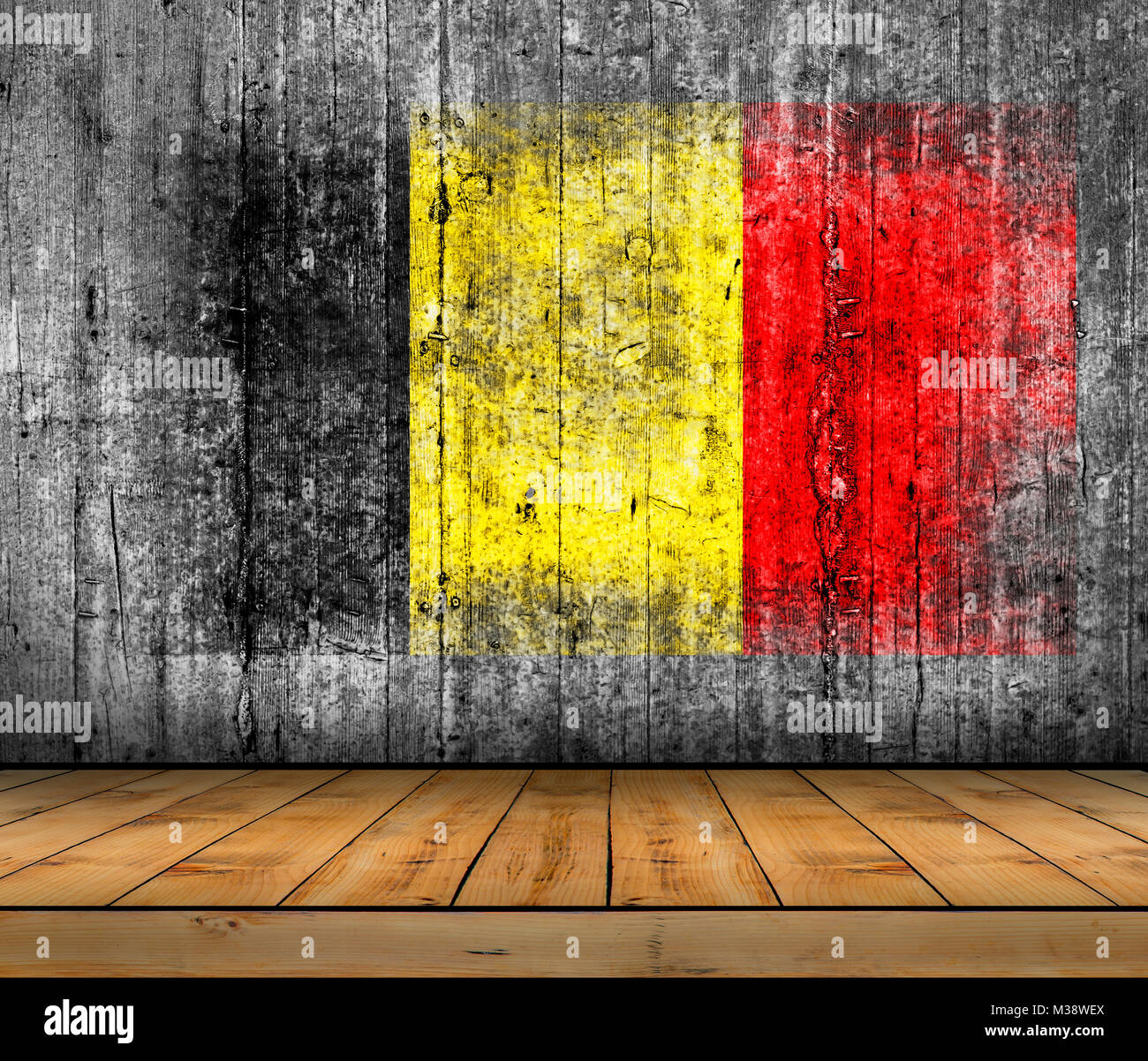 Belgium  flag painted on background texture gray concrete with wooden floor - Stock Image