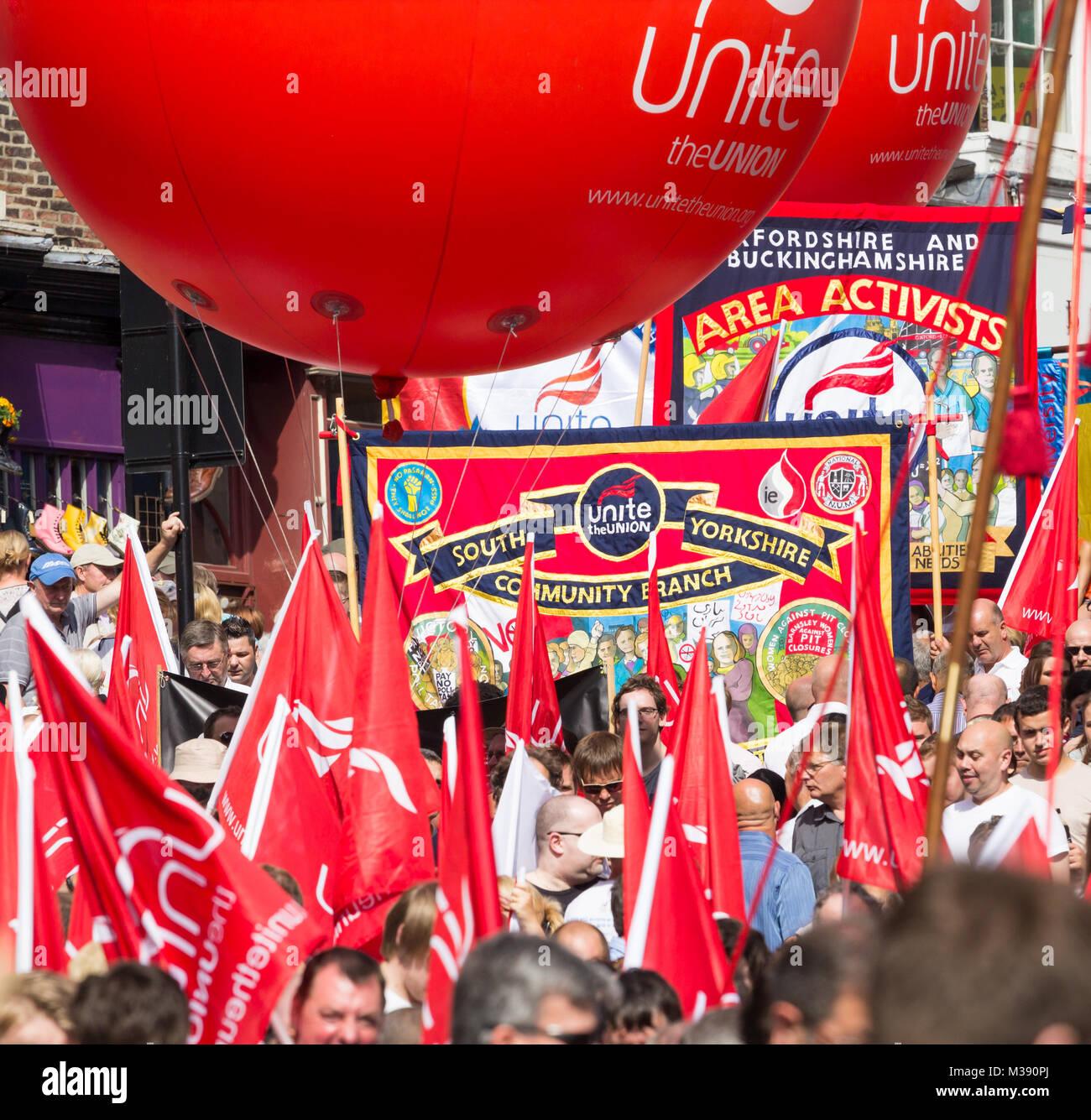Unite union banners at Durham Miners Gala. Durham, United Kingdom. - Stock Image