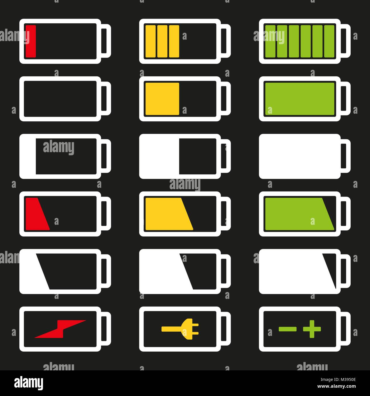 Battery flat icon set vector illustration isolated on gray background eps10. Symbols of battery charge level, full - Stock Vector