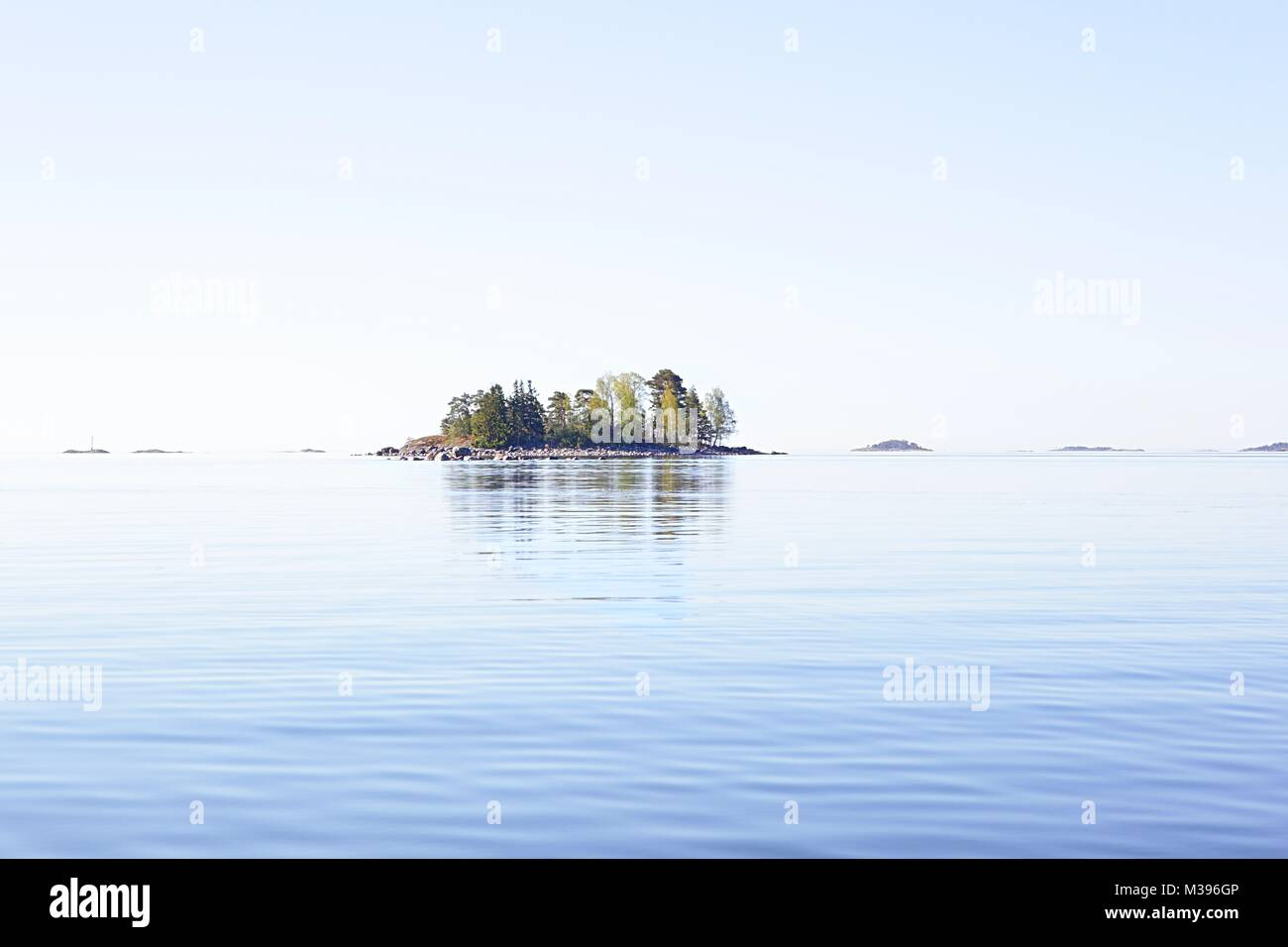 Archipelago at Baltic Sea, small islands and calm sea - Stock Image