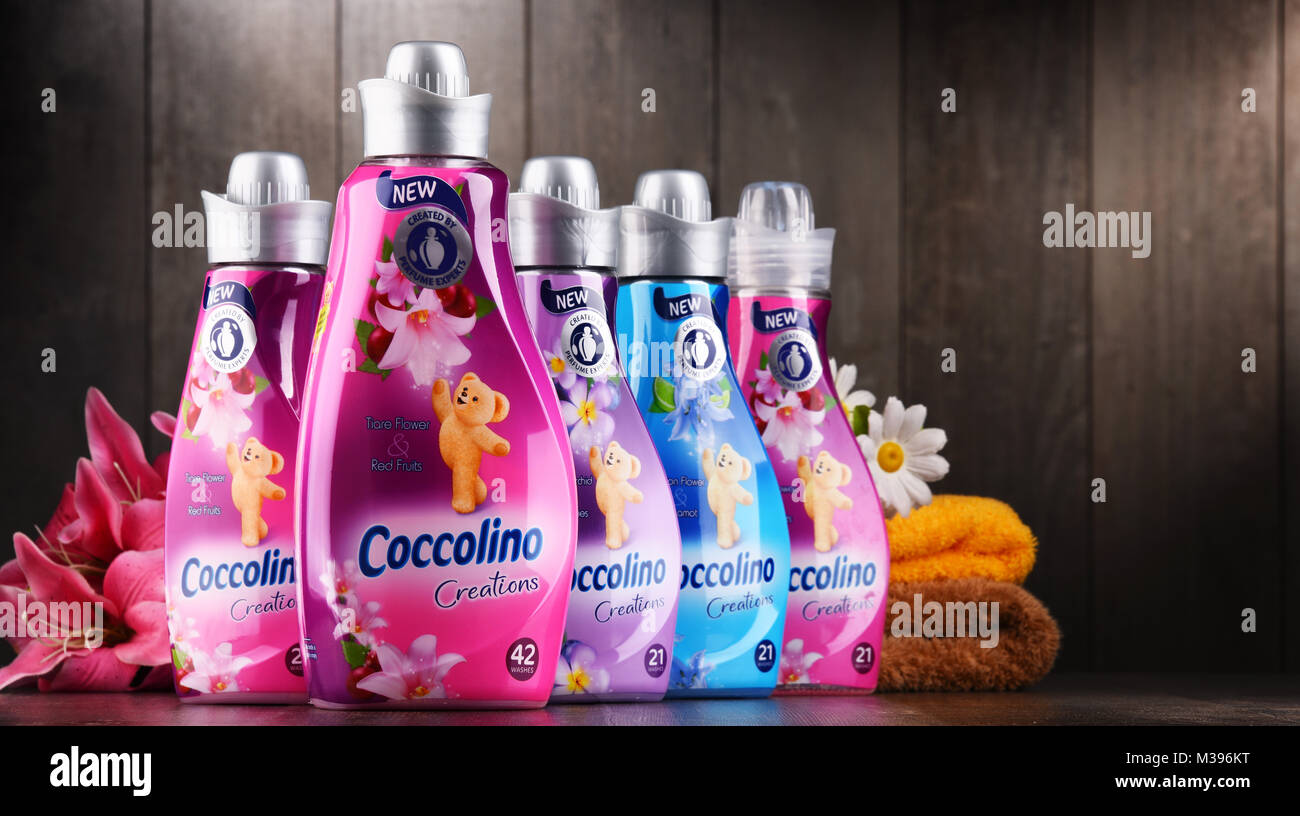POZNAN, POLAND - DEC 14, 2017: bottles of liquid Coccolino fabric softener owned by Unilever, a British-Dutch transnational Stock Photo