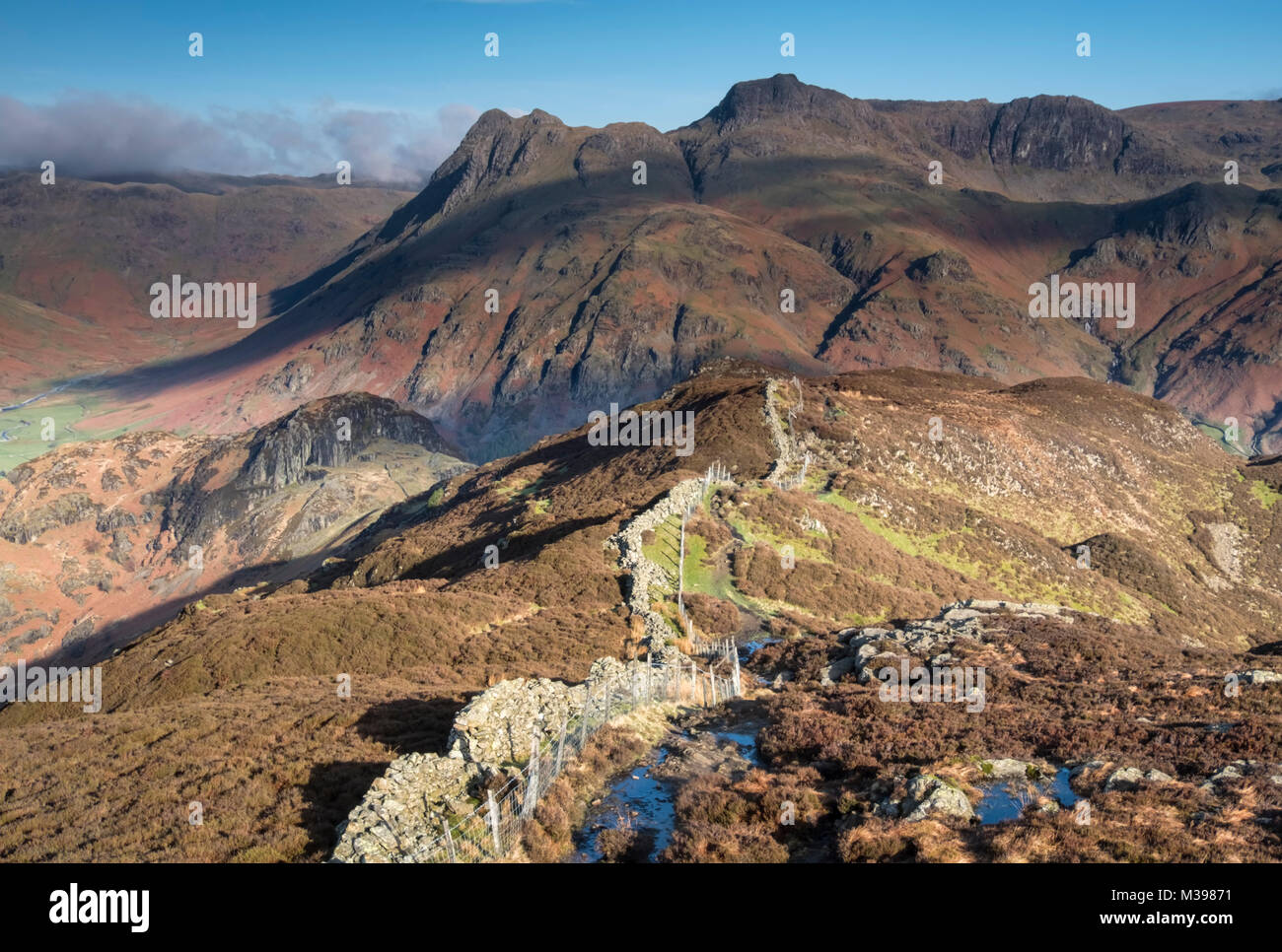 The Langdale Pikes and Side Pike from Lingmoor Fell, Great Langdale, Lake District National Park, Cumbria, England, - Stock Image
