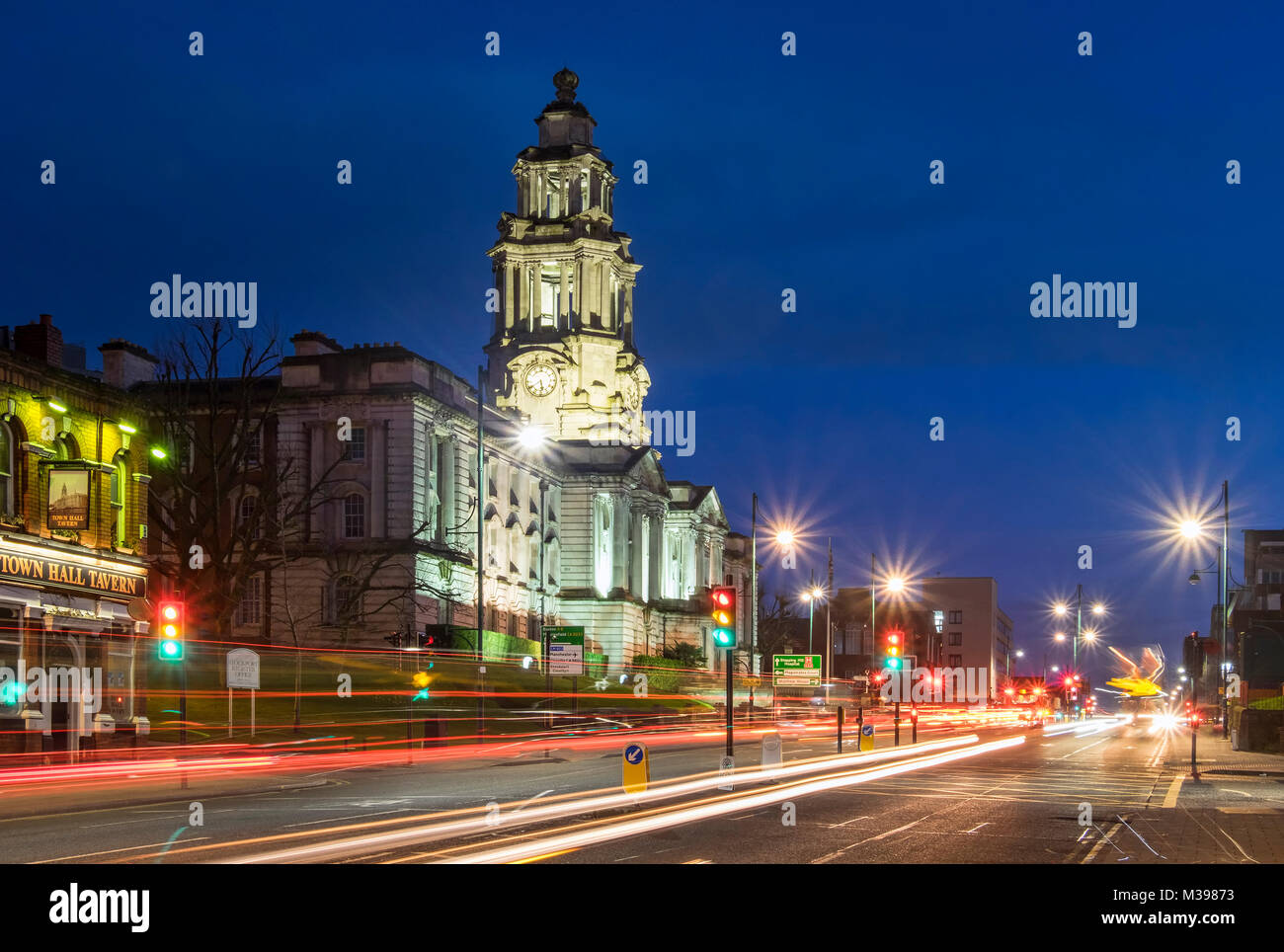 Stockport Town Hall at Night, Stockport, Greater Manchester, England, UK - Stock Image