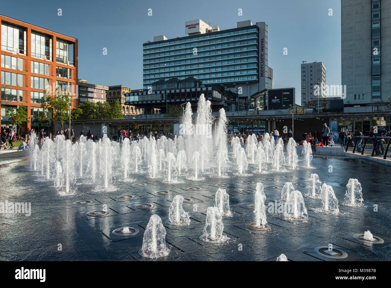 Fountain at Piccadilly Gardens, Manchester, Greater Manchester, England, UK - Stock Image