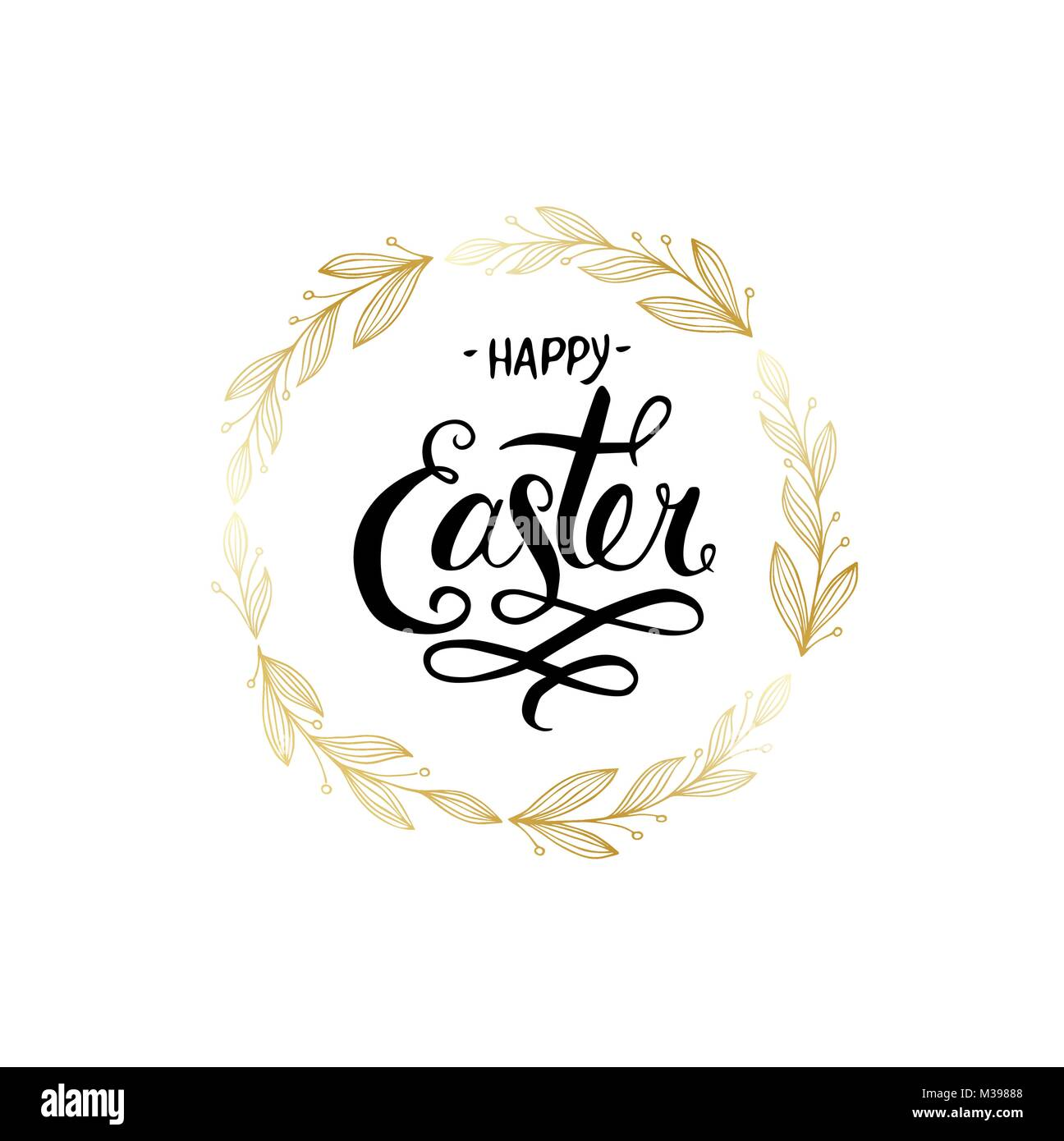 Vintage greeting card for Easter. Hand drawn lettering text Happy Easter on grunge background. Holiday card. - Stock Image