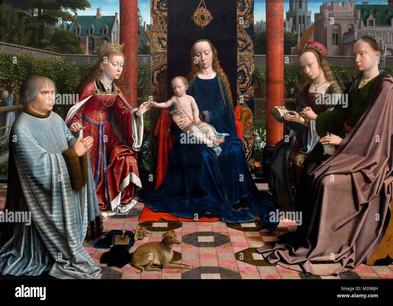 Virgin and Child with Saints and Donor by Gerard David (c.1460-1523), oil on oak panel, c.1510. Gerard David was - Stock Image