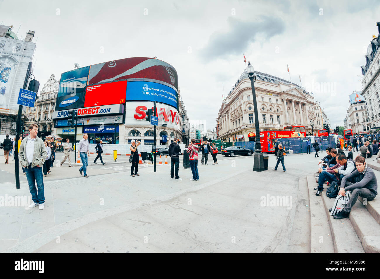 LONDON - OCTOBER 11 View of Piccadilly Circus on October 11, 2013 in London. Famous advertisements of TDK and Sanyo - Stock Image