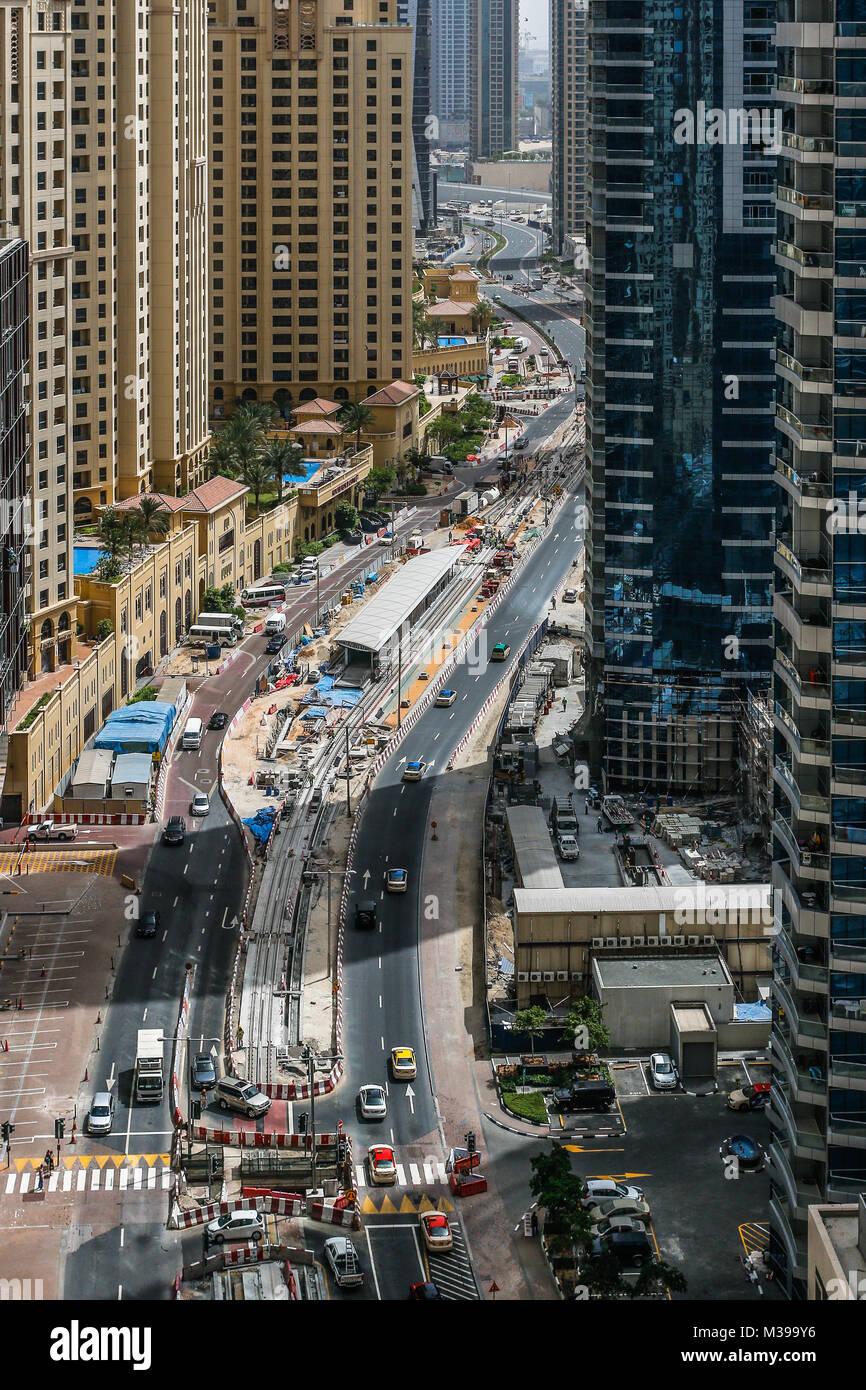 DUBAI,UAE - MAY 18: Dubai Downtown skyline. Dubai Sheikh Zayed Road and Marina. Dubai skyscrapers on May18, 2014 - Stock Image
