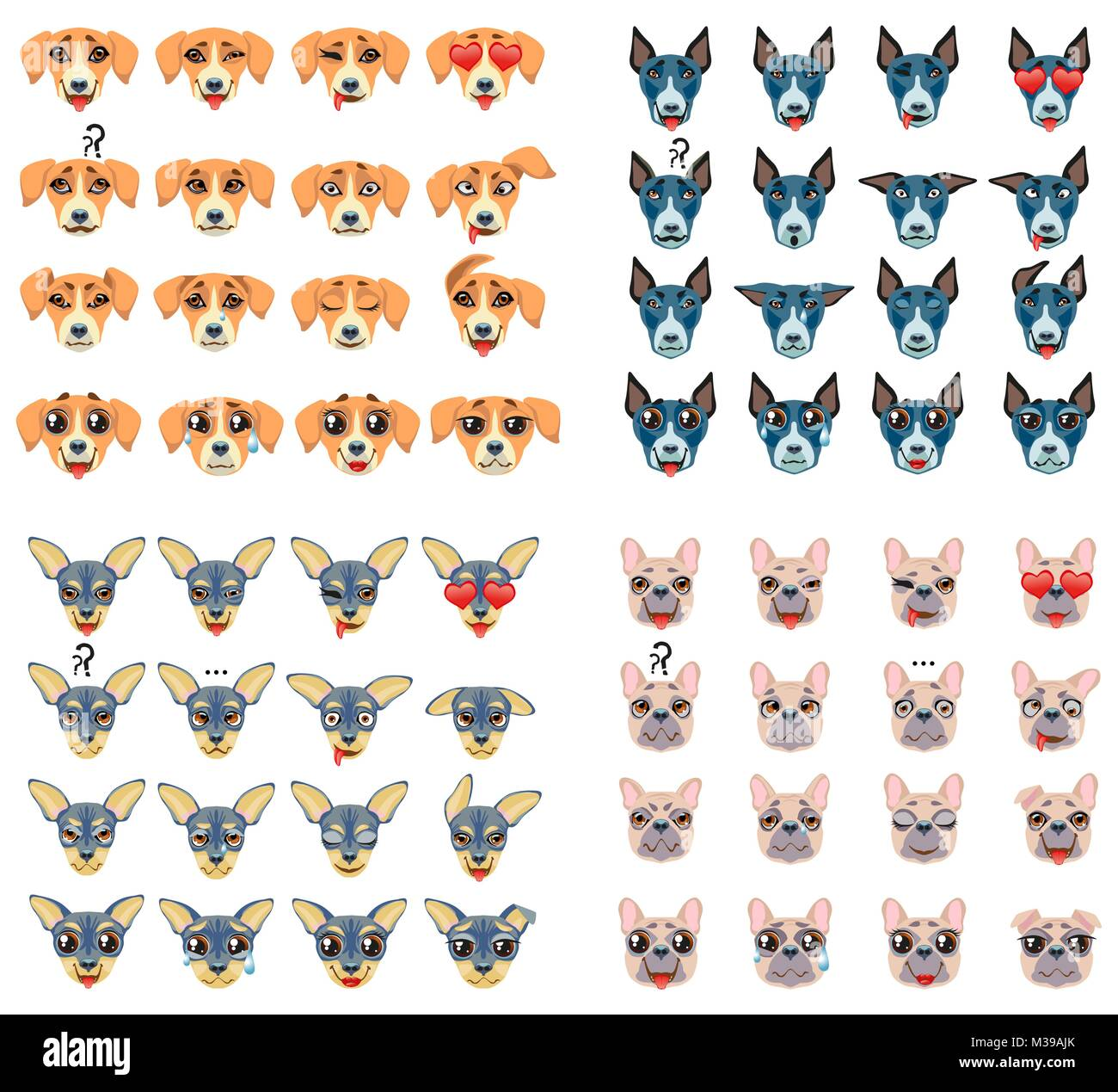 Set of different breeds of dogs Emoji Emoticon Expression - Stock Image