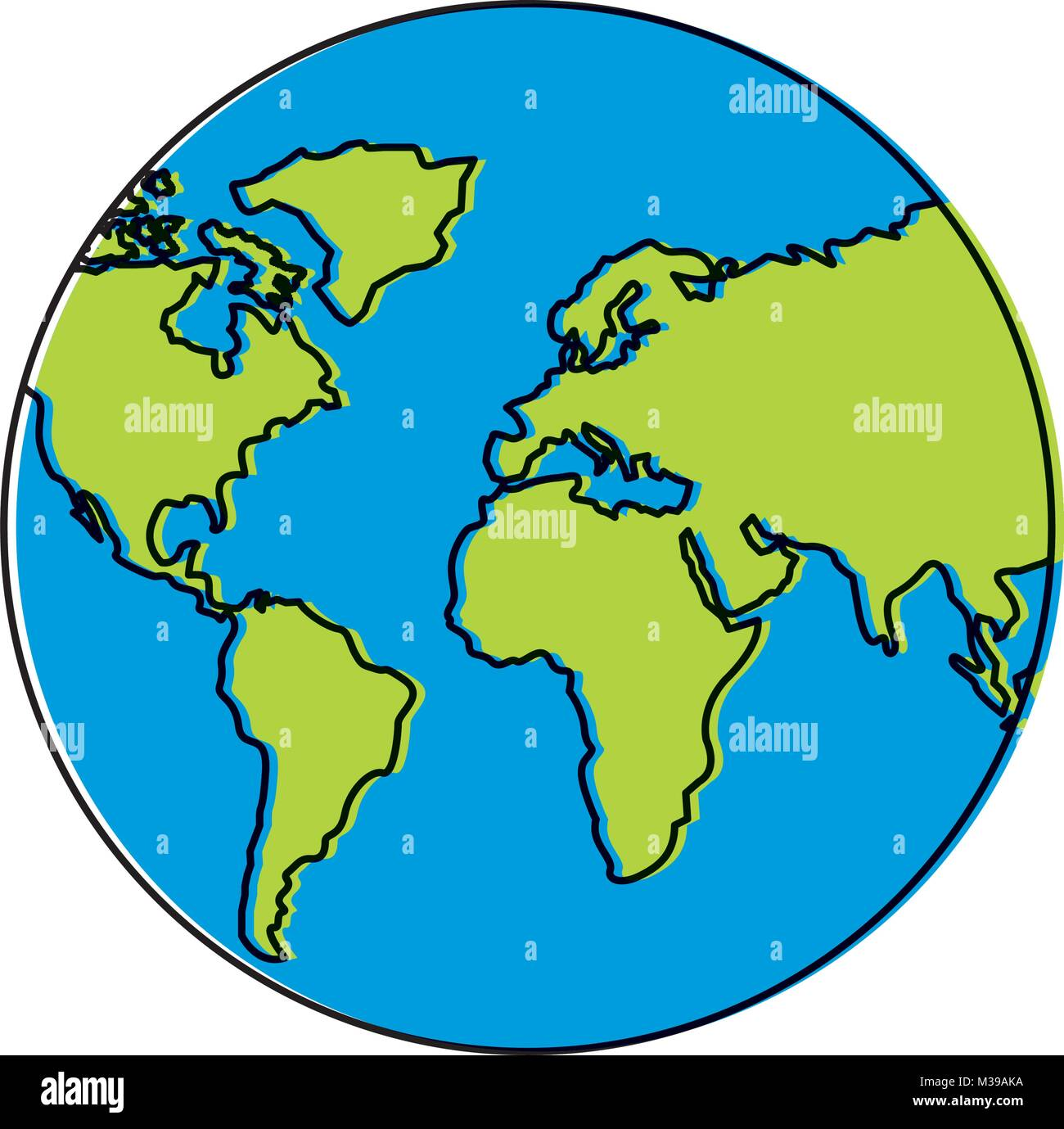 Globe Map Of The World.Earth Planet World Globe Map Icon Stock Vector Art Illustration