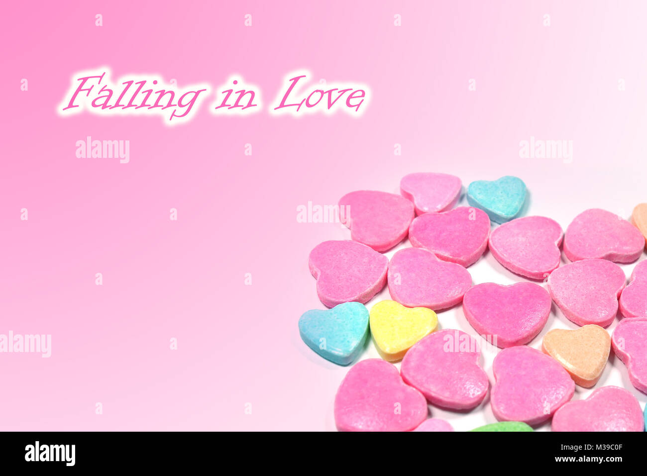 Abstract love candy for Falling in love concept - Stock Image