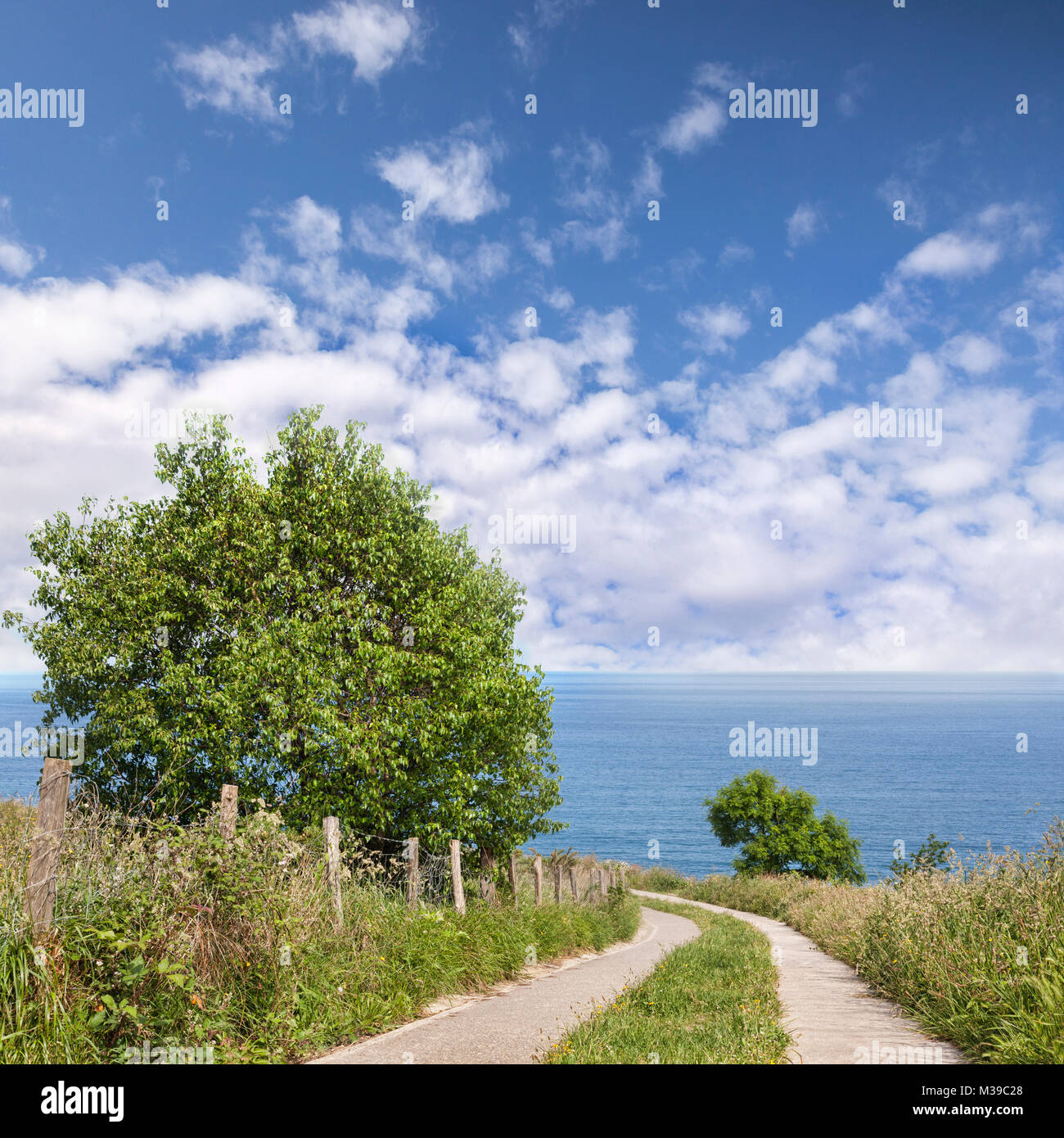 Path to sea, generic landscape or seascape in the Basque Country, Spain. - Stock Image