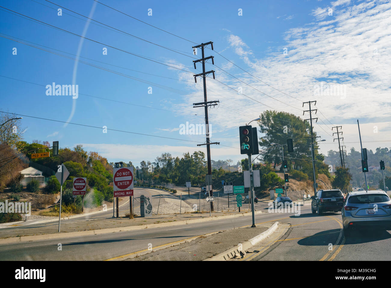 Los Angeles, DEC 31: Big sign of Do Not Enter Wrong Way on DEC 31, 2017 at Los Angeles, California - Stock Image