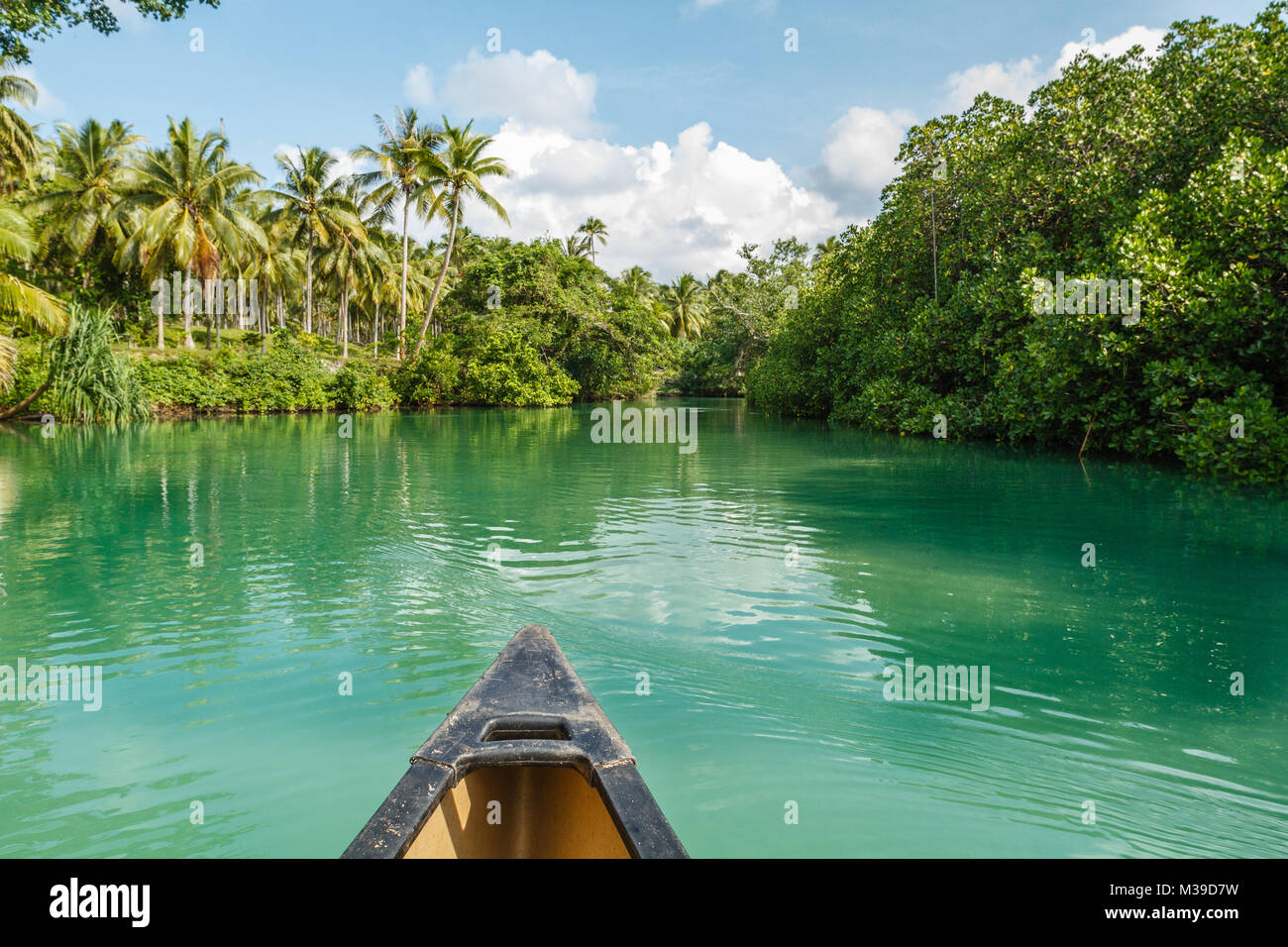 View of a Blue Hole from a boat. Ratua Private Island, Republic of Vanuatu - Stock Image