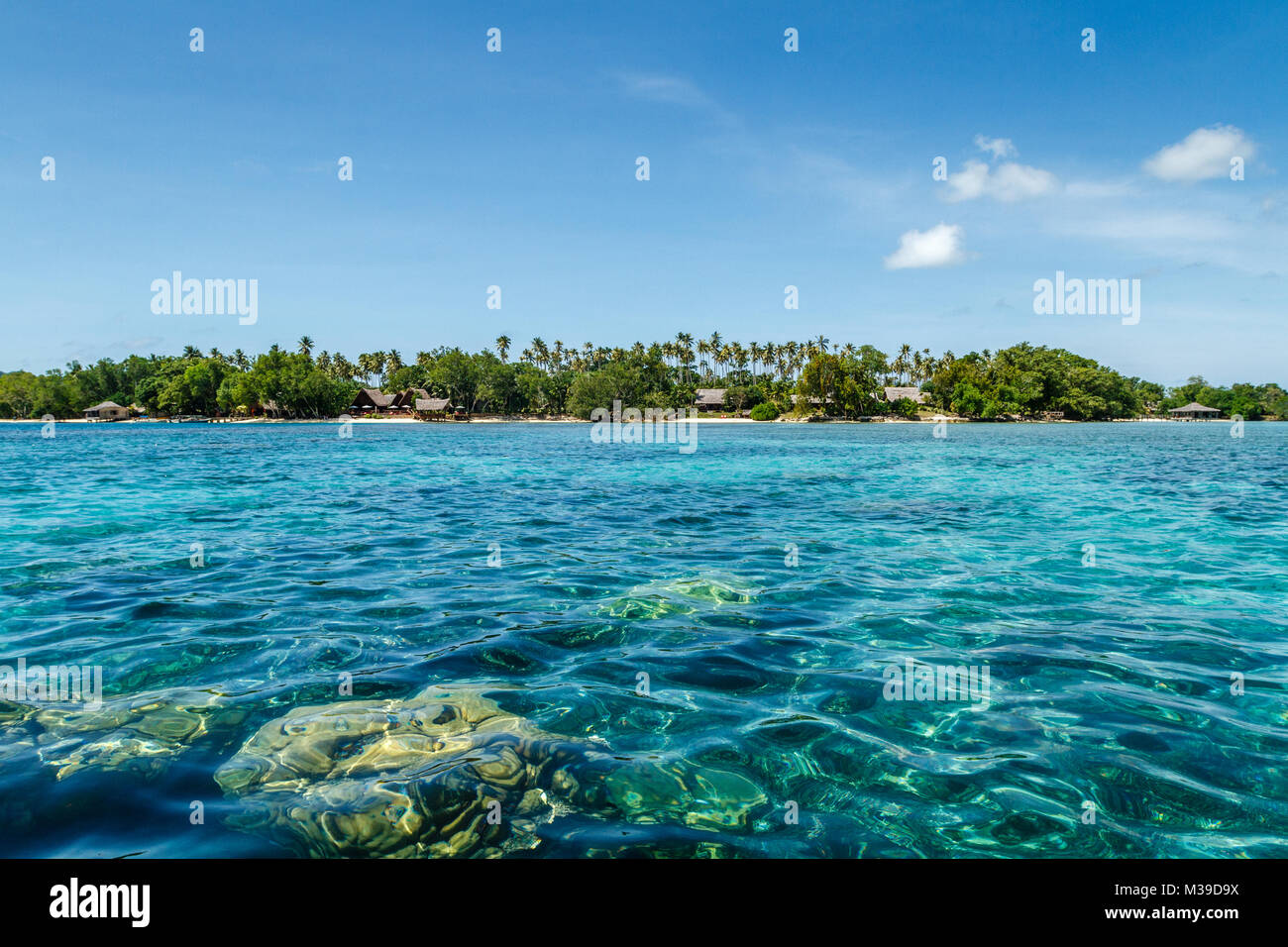 Ratua Private Island, view of the resort from the ocean, Republic of Vanuatu - Stock Image